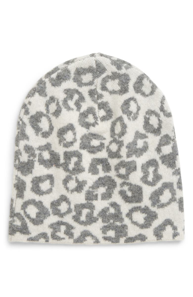 HALOGEN<SUP>®</SUP> Leopard Print Wool & Cashmere Beanie, Main, color, GREY LIGHT HEATHER COMBO