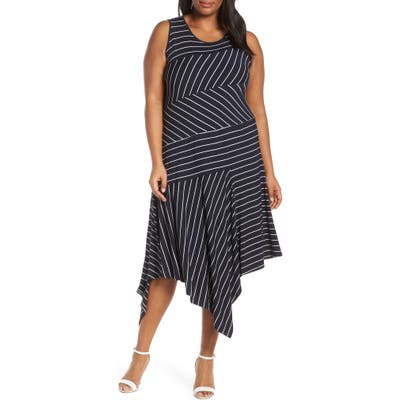 Plus Size Vince Camuto Stripe Asymmetrical Hem Dress, Blue