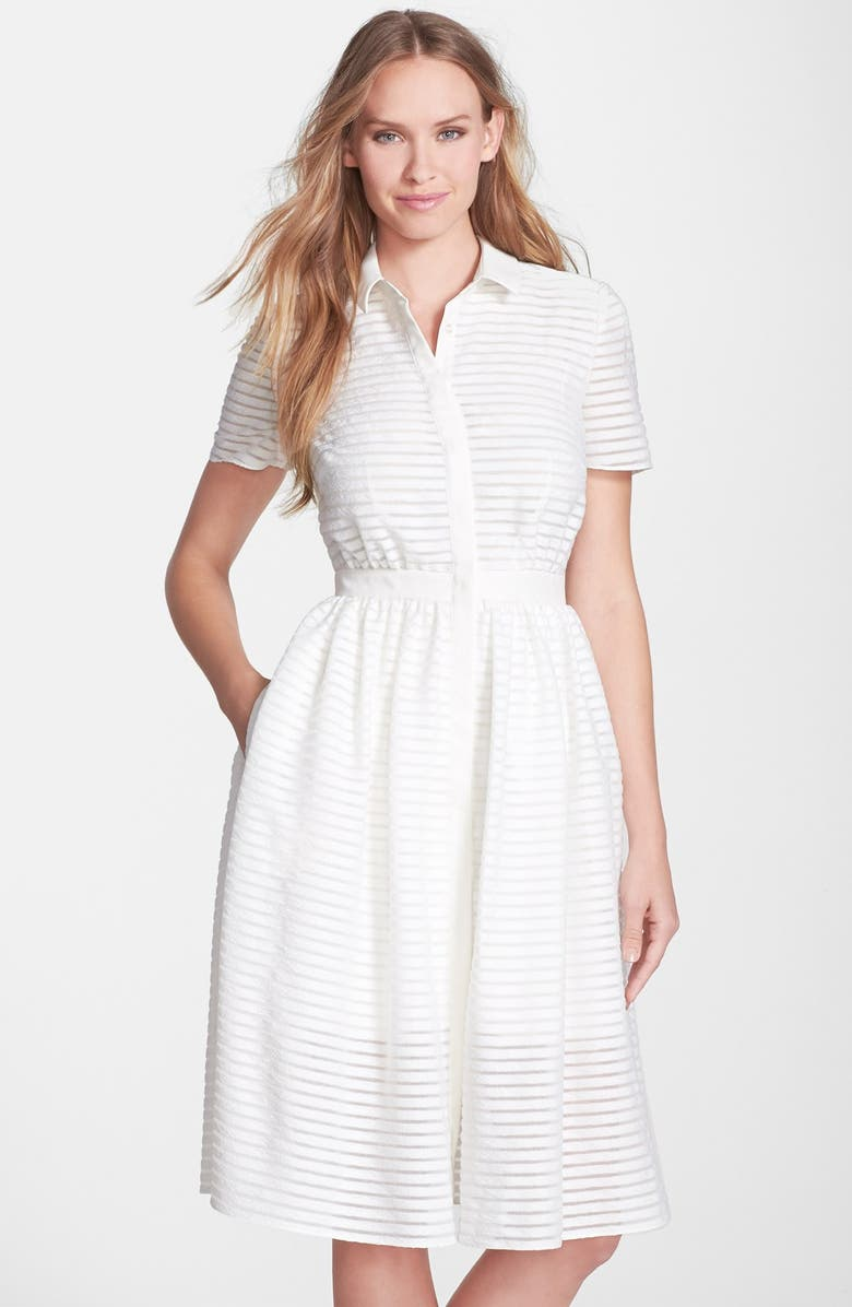 ERIN ERIN FETHERSTON 'Colette' Shadow Stripe Fit & Flare Shirtdress, Main, color, 900