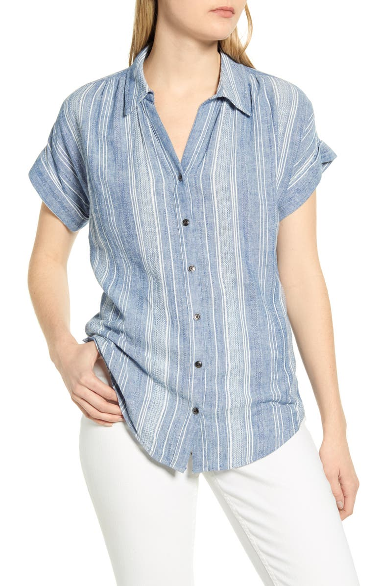 CASLON<SUP>®</SUP> Stripe Woven Shirt, Main, color, 420