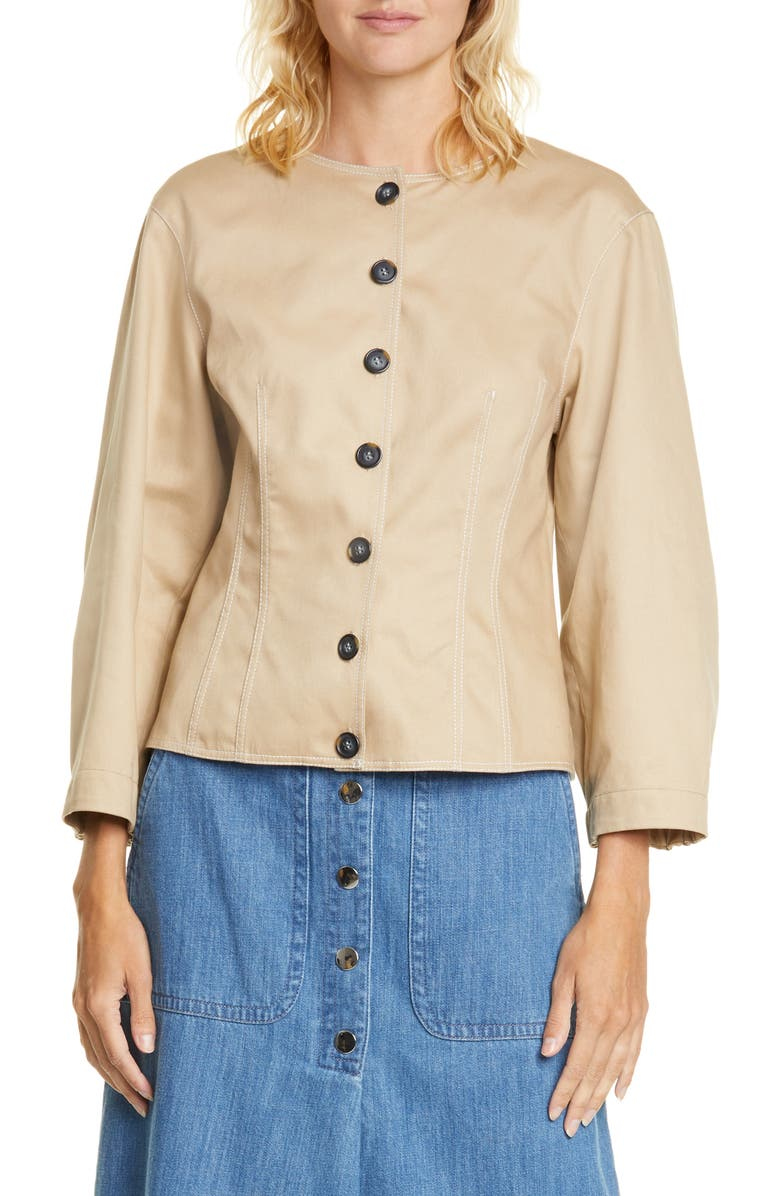 TIBI Harrison Blouson Sleeve Cotton Top, Main, color, TAN