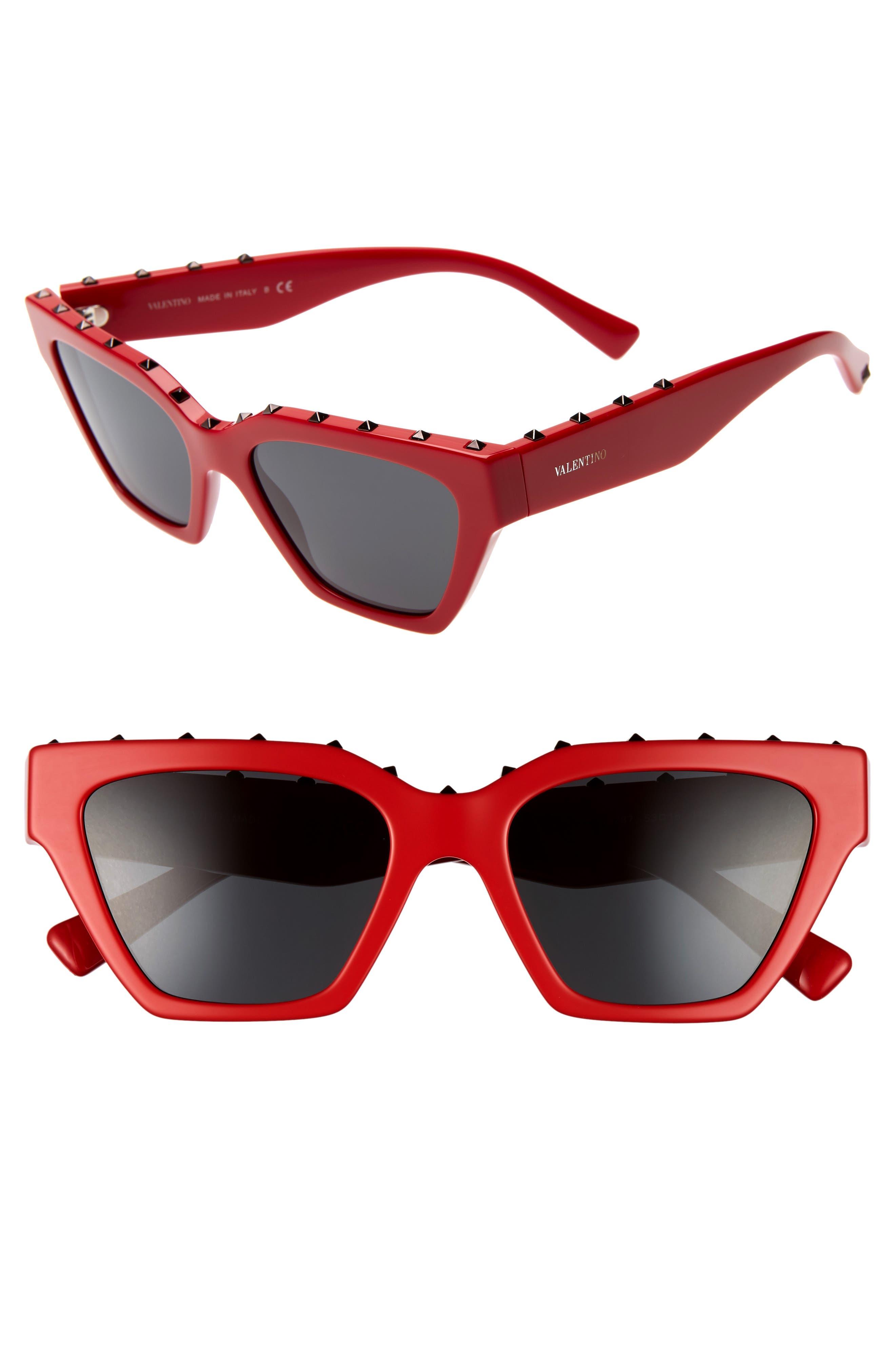 Valentino 5m Rockstud Cat Eye Sunglasses - Red Solid