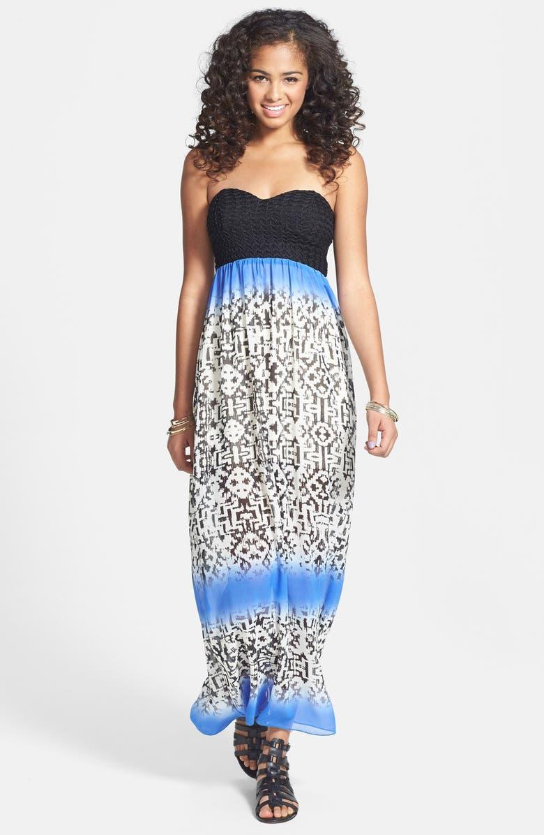 Trixxi Bow Back Strapless Maxi Dress (Juniors) | Nordstrom