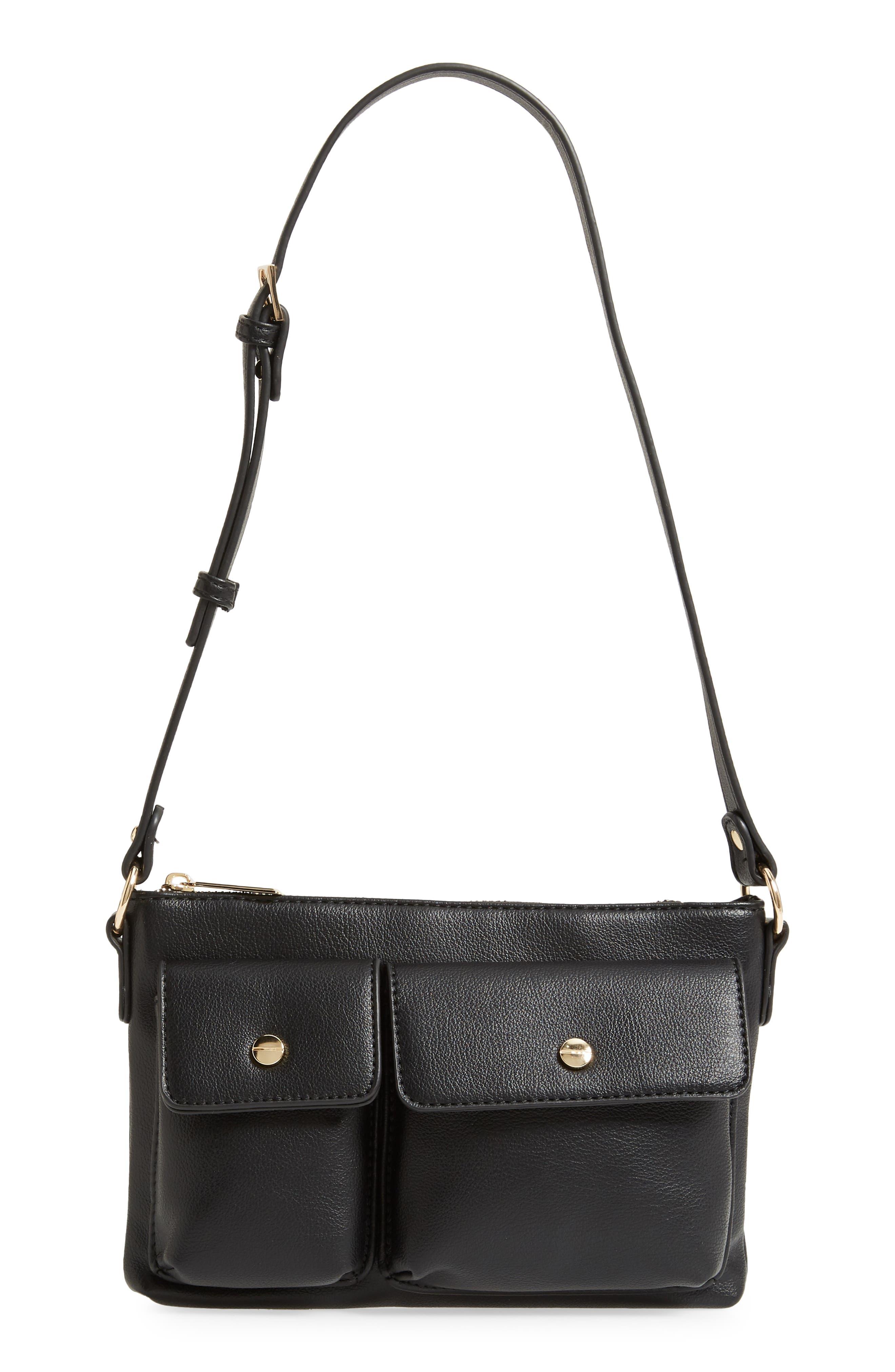 Mali + Lili Miya Double Pocket Vegan Leather Convertible Shoulder Bag