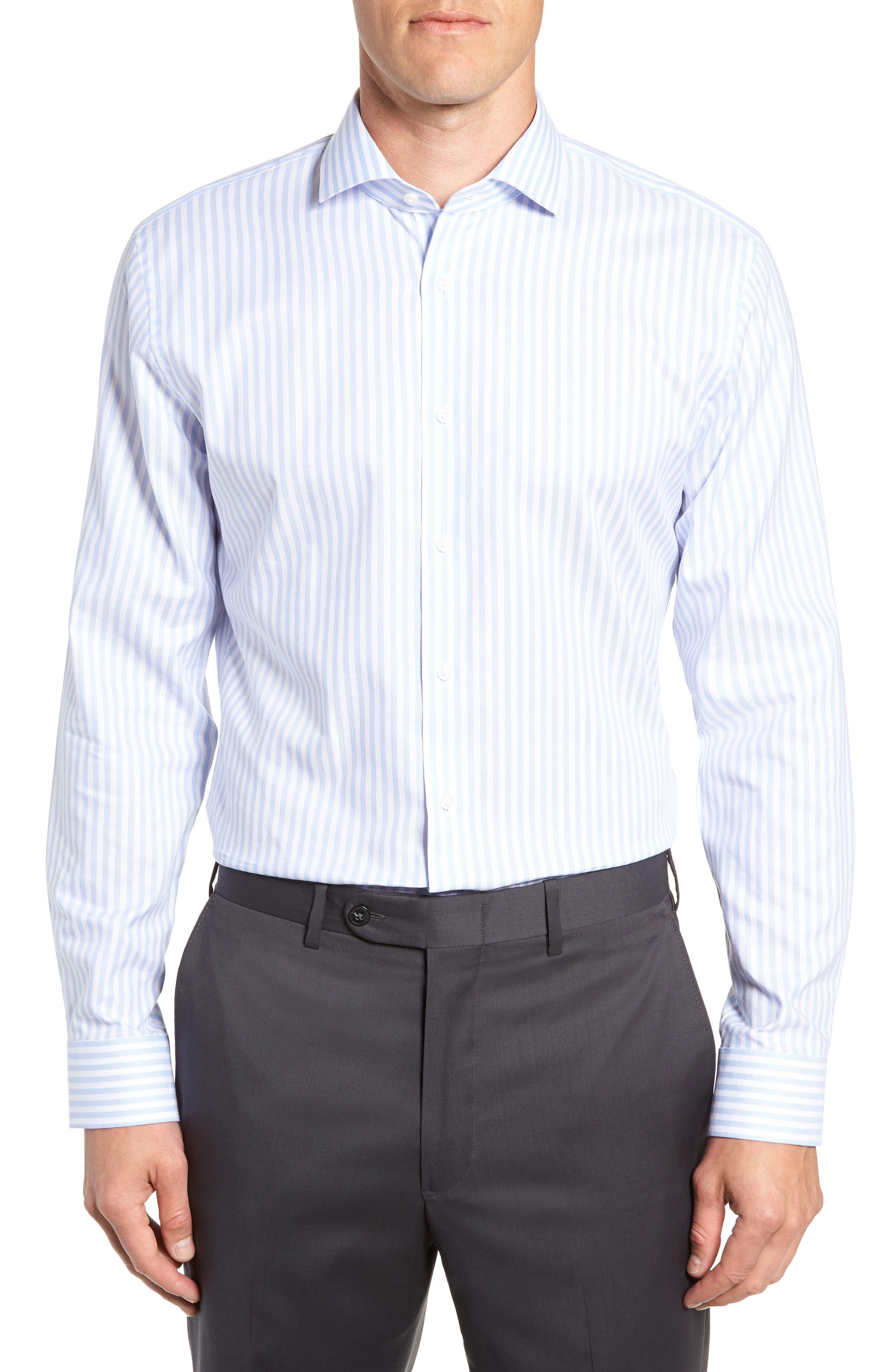 Trim Fit Stripe Dress Shirt, Main, color, BLUE STORK