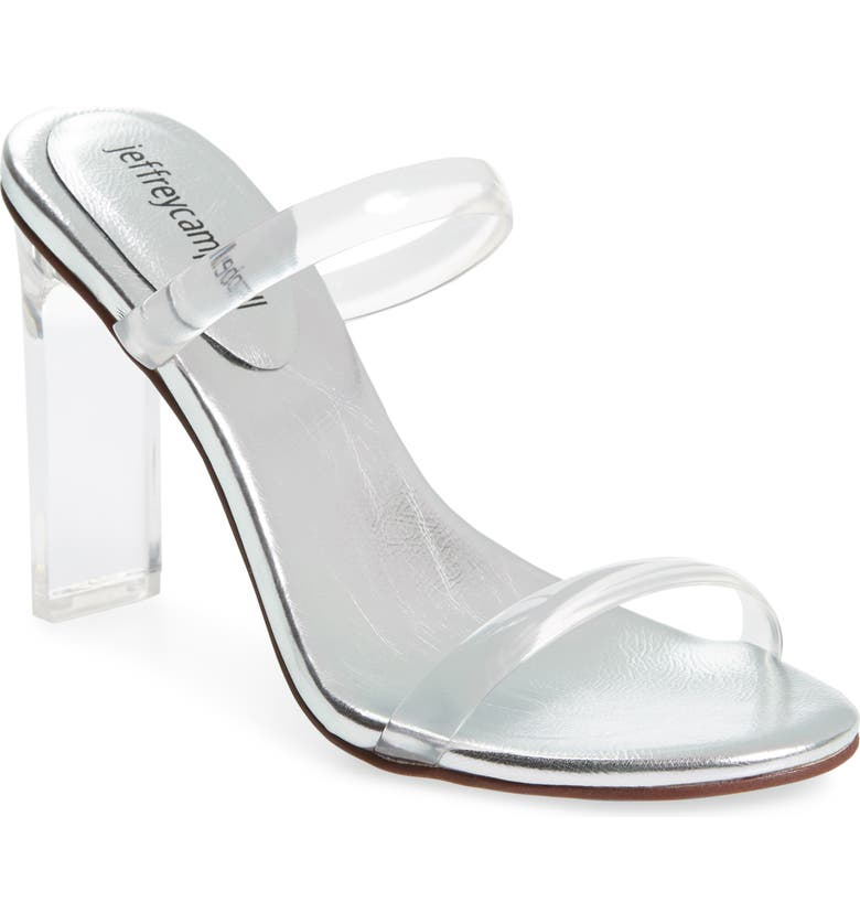 JEFFREY CAMPBELL Serum Slide Sandal, Main, color, CLEAR/ SILVER LEATHER
