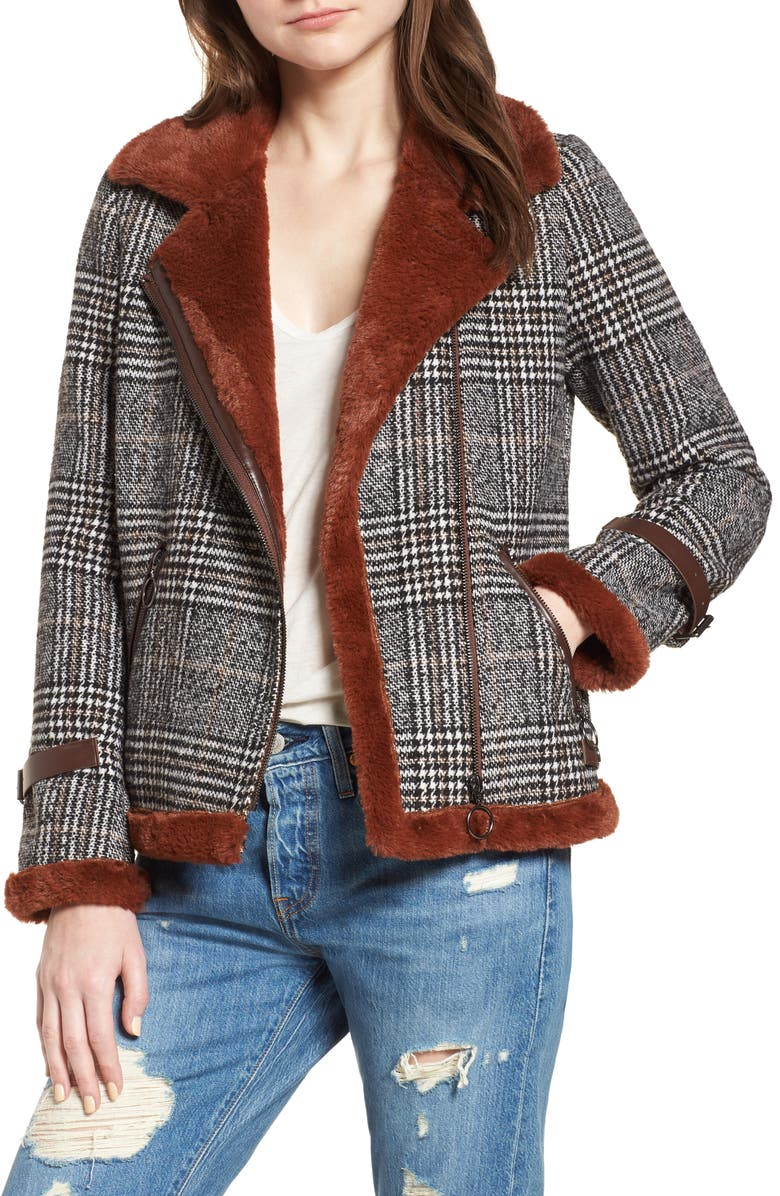 AVEC LES FILLES Faux Fur Lined Plaid Biker Jacket, Main, color, 238