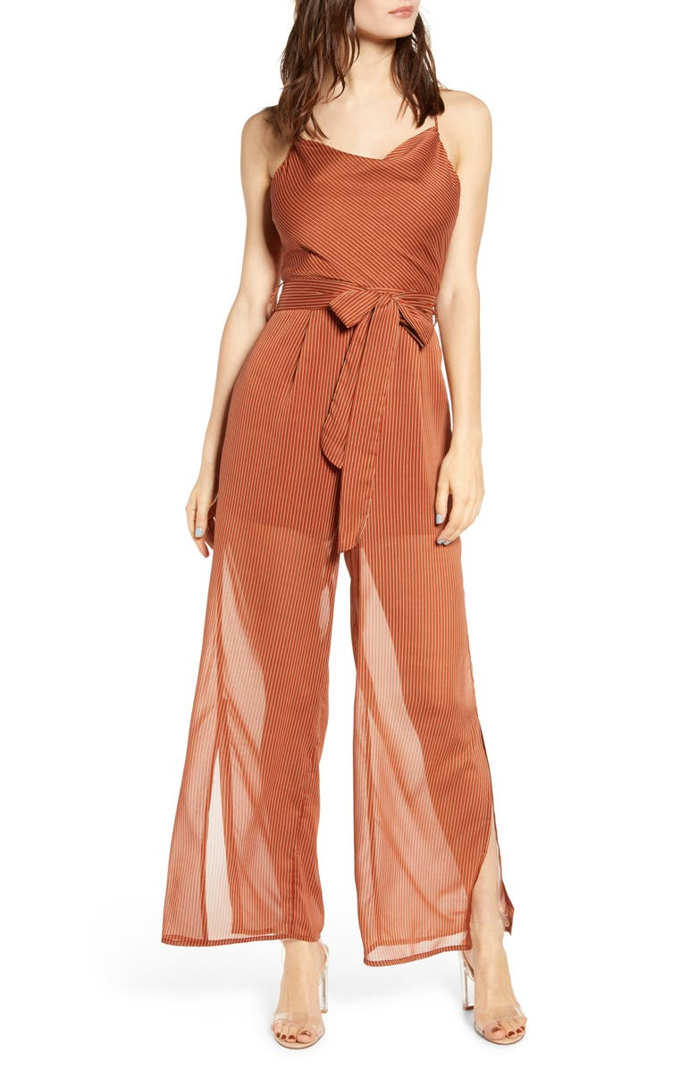 J O A Cowl Neck Tie Waist Sheer Jumpsuit