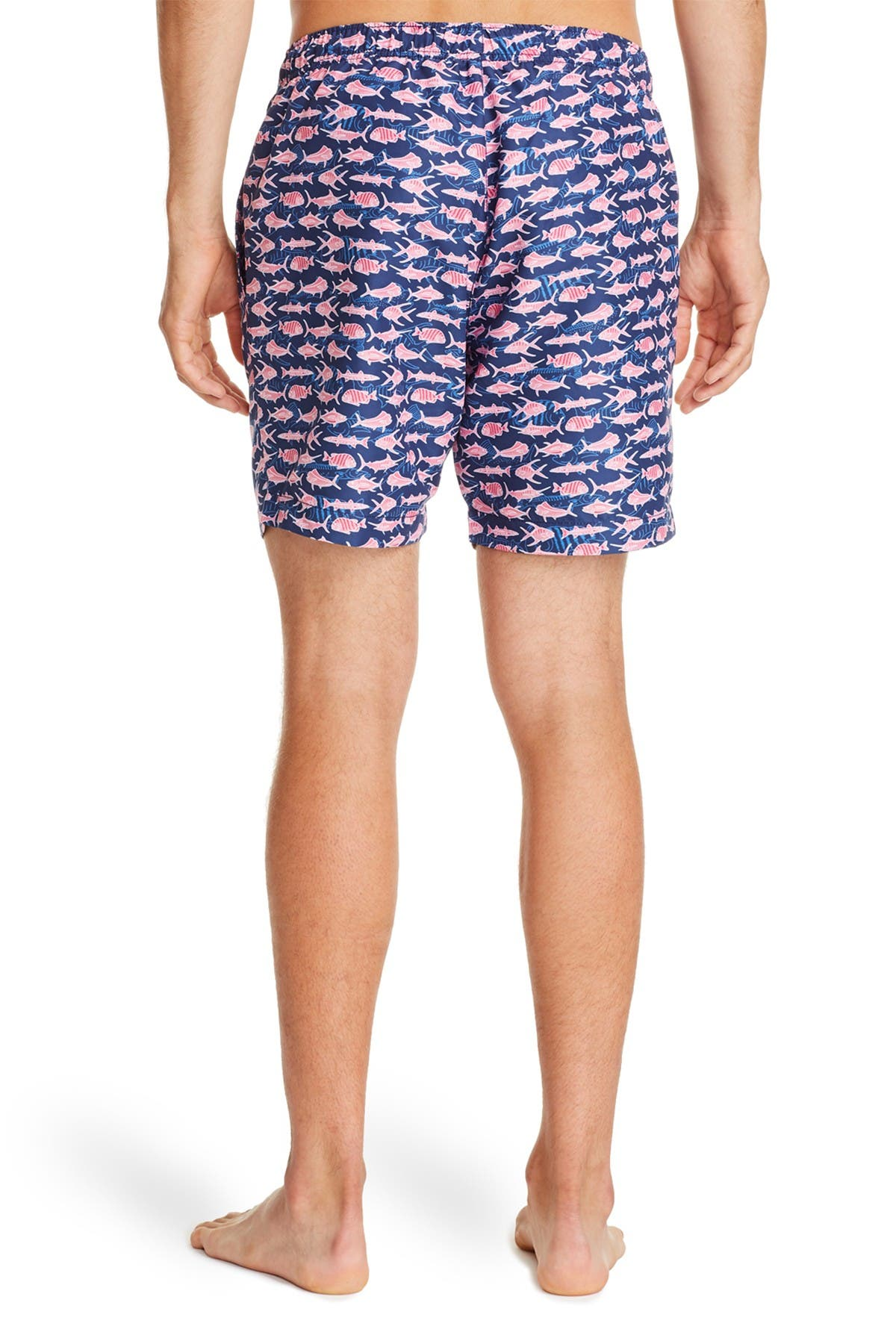 Image of CONSTRUCT Navy Pink Fish Print Swimming Trunks