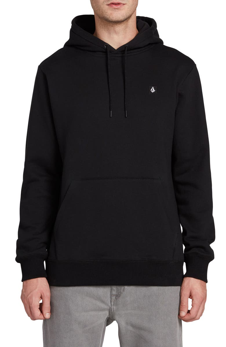 VOLCOM Solid Hooded Sweatshirt, Main, color, BLACK