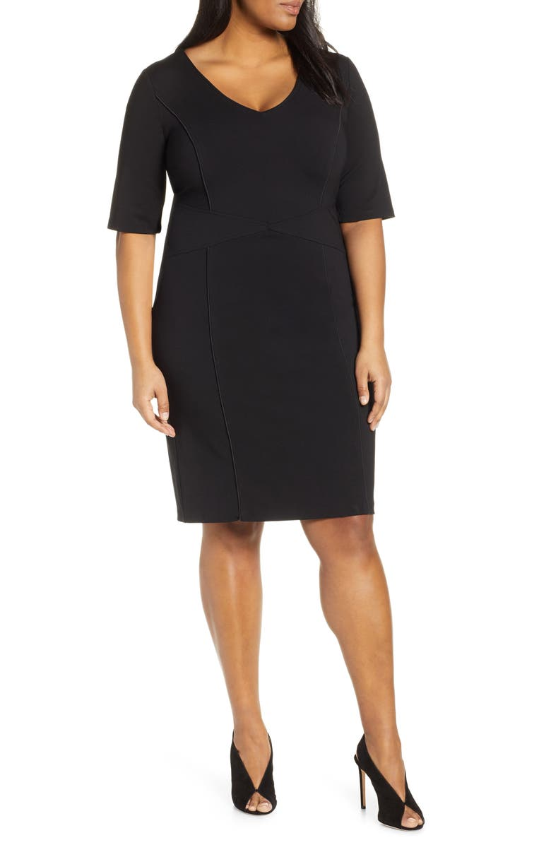 ELOQUII 9-to-5 Stretch Sheath Dress, Main, color, TOTALLY BLACK