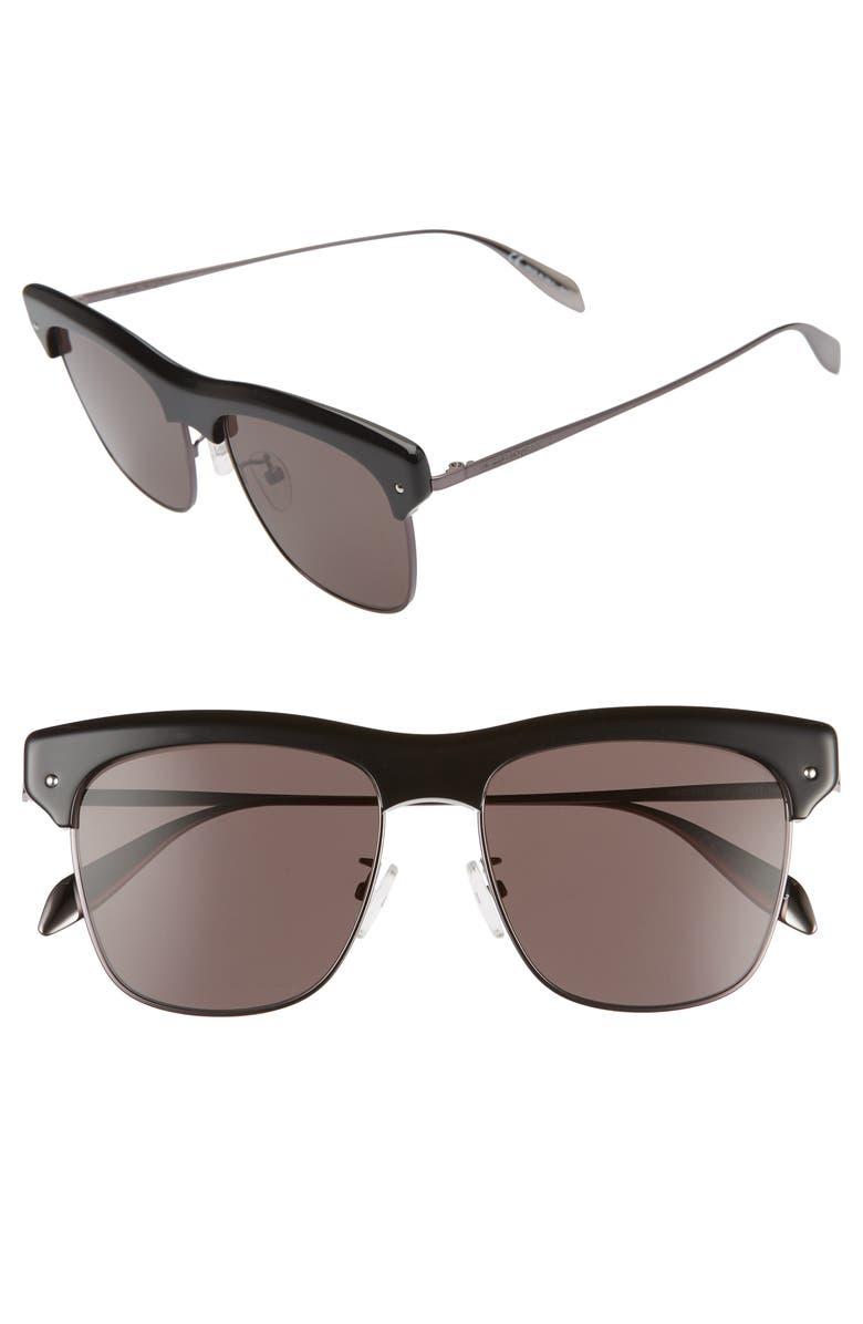 ALEXANDER MCQUEEN 55mm Browline Sunglasses, Main, color, BLACK