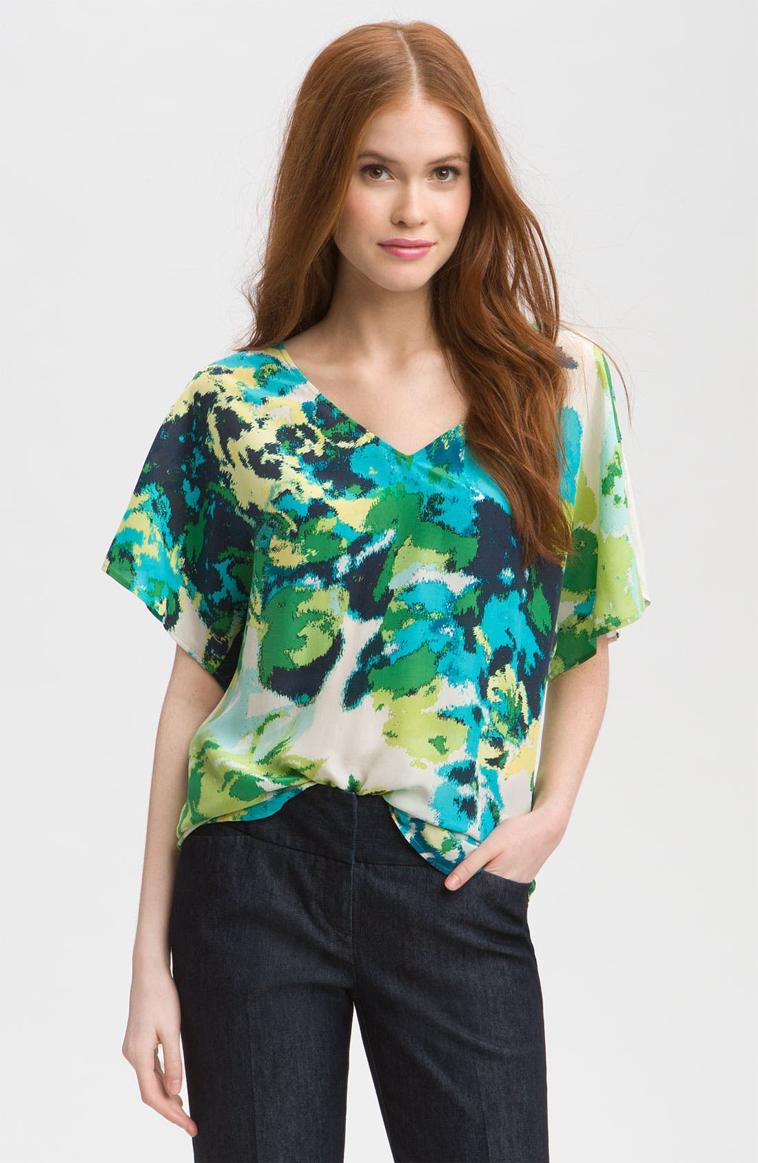 ,                             Relaxed V-Neck Top,                             Main thumbnail 3, color,                             441
