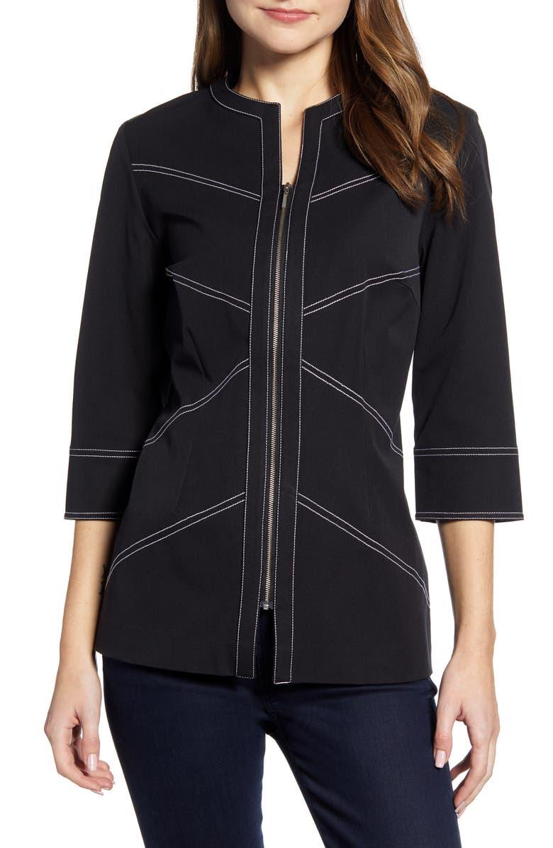 MING WANG Topstitch Zip Twill Jacket, Main, color, BLACK