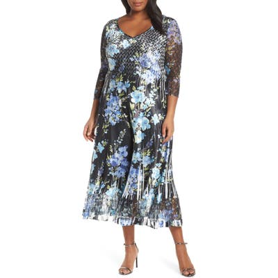 Plus Size Komarov Floral Print V-Neck Charmeuse Tea Length Dress, Black