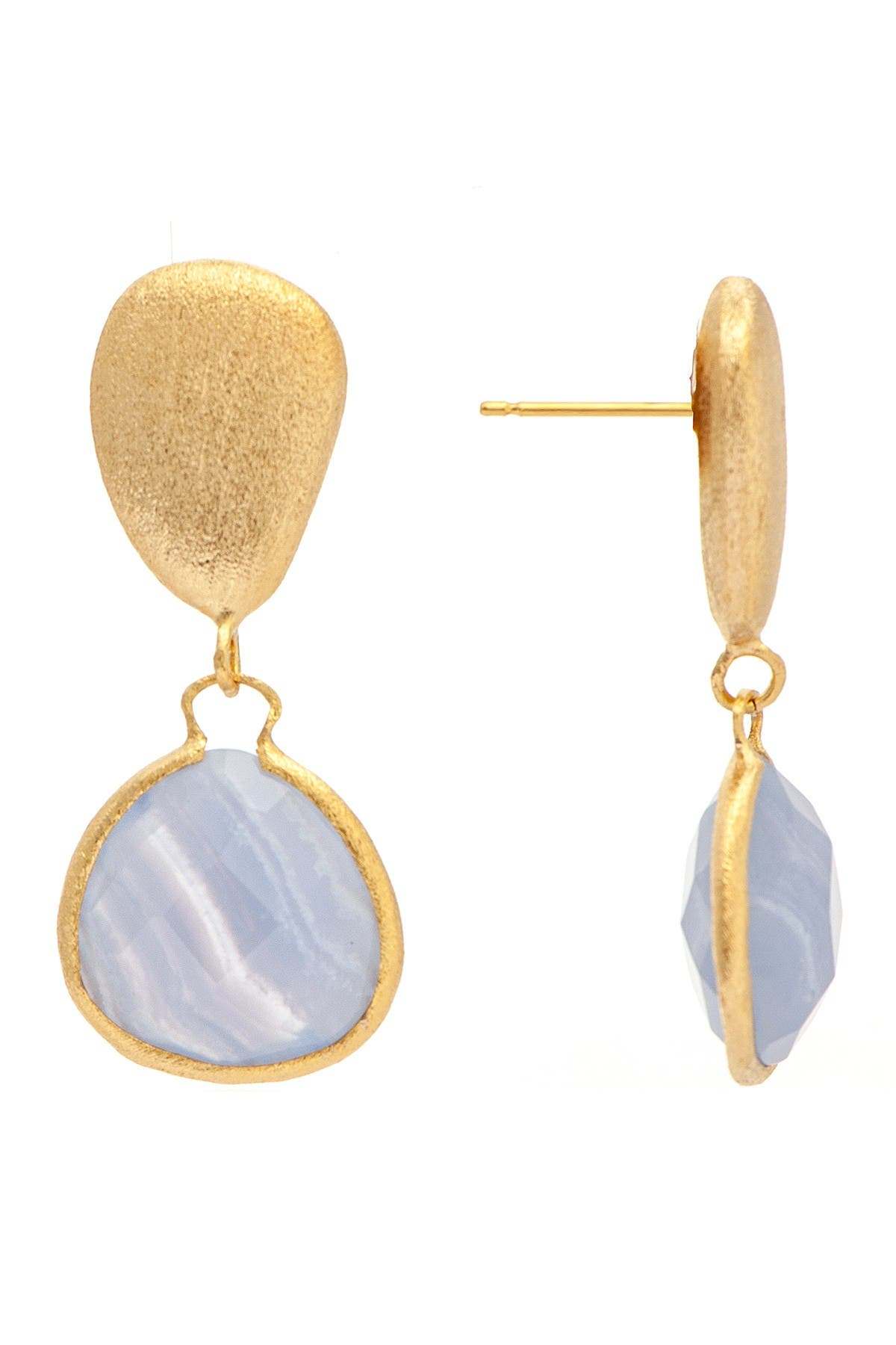 Image of Rivka Friedman 18K Gold Clad Blue Onyx Drop Earrings