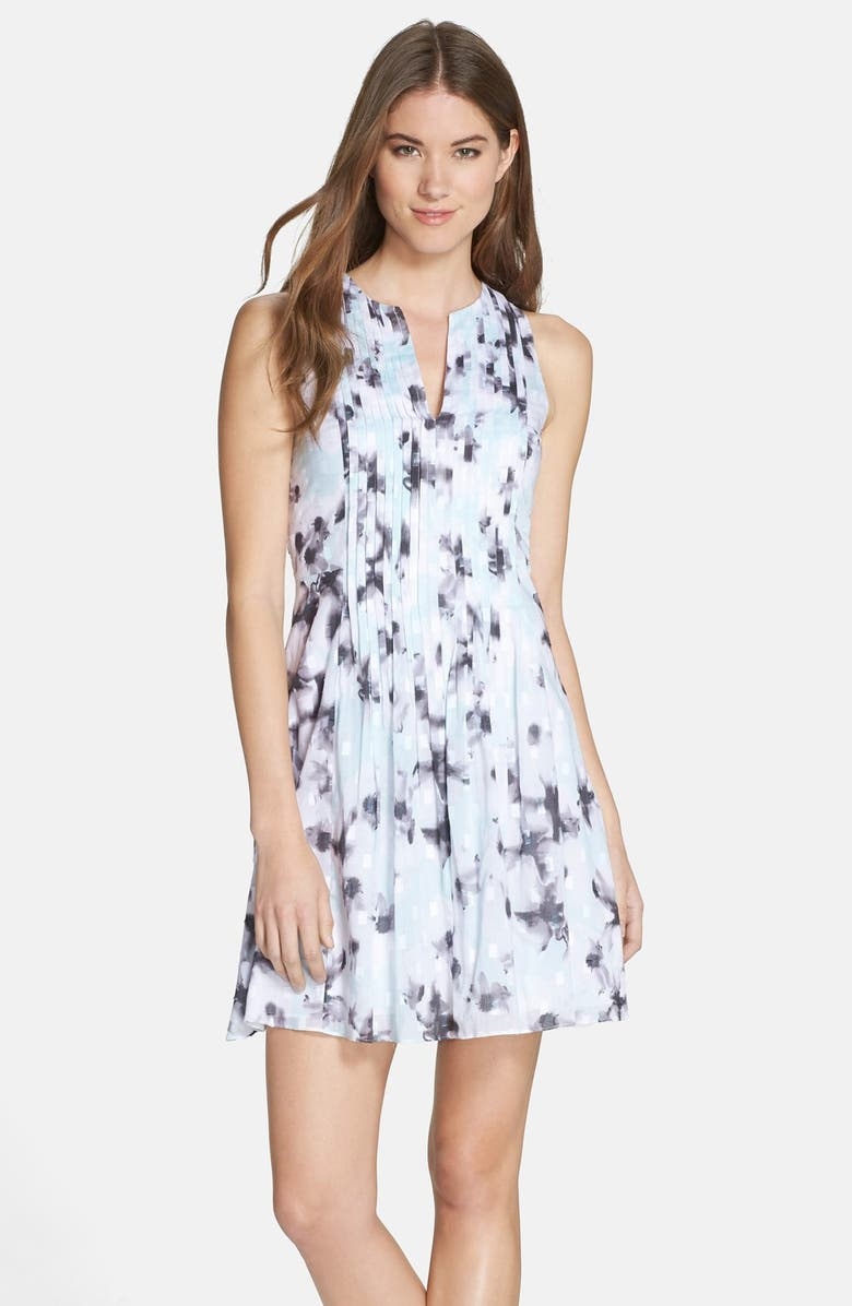 CECE by Cynthia Steffe 'Wellesley' Print Pleated Fit & Flare Dress, Main, color, 461