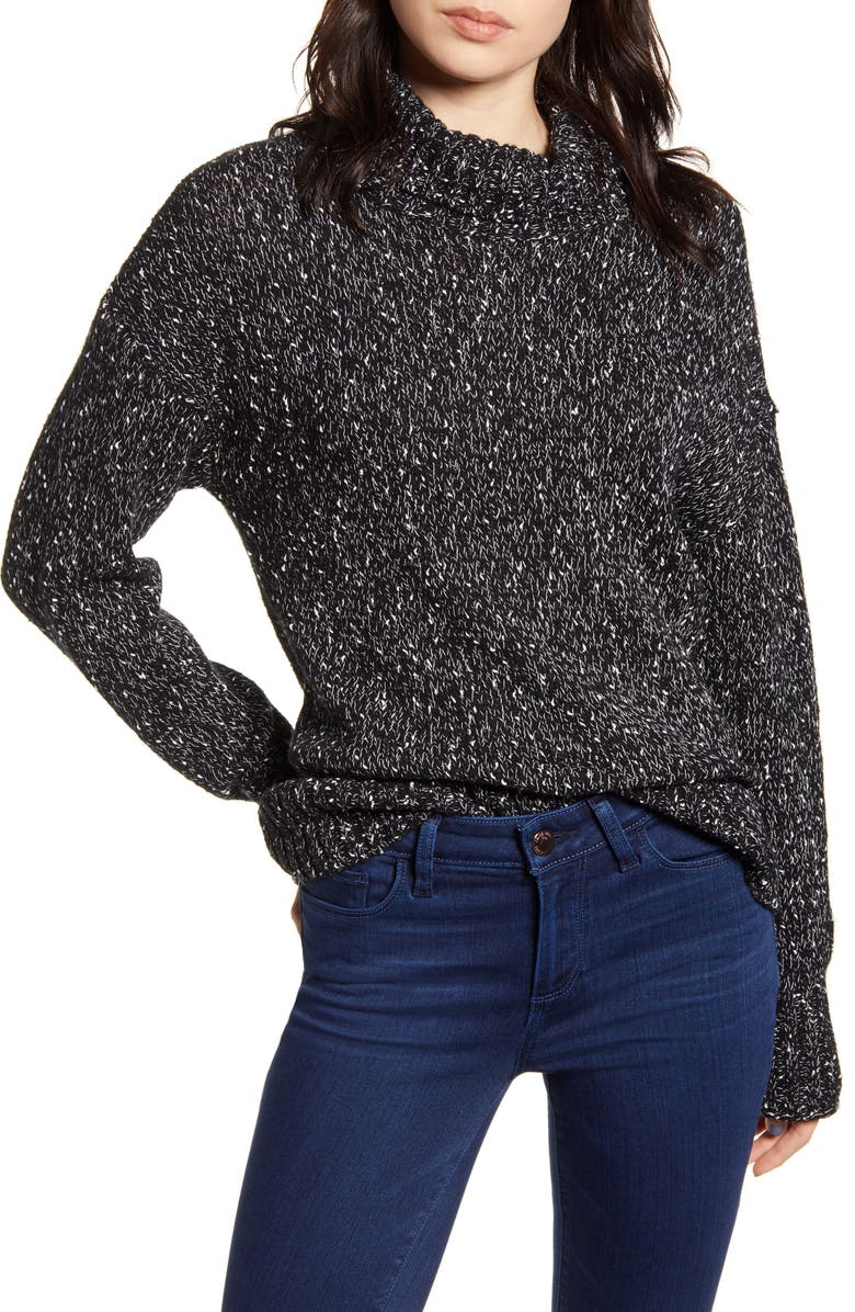CHELSEA28 Funnel Neck Pullover, Main, color, BLACK- IVORY NEP