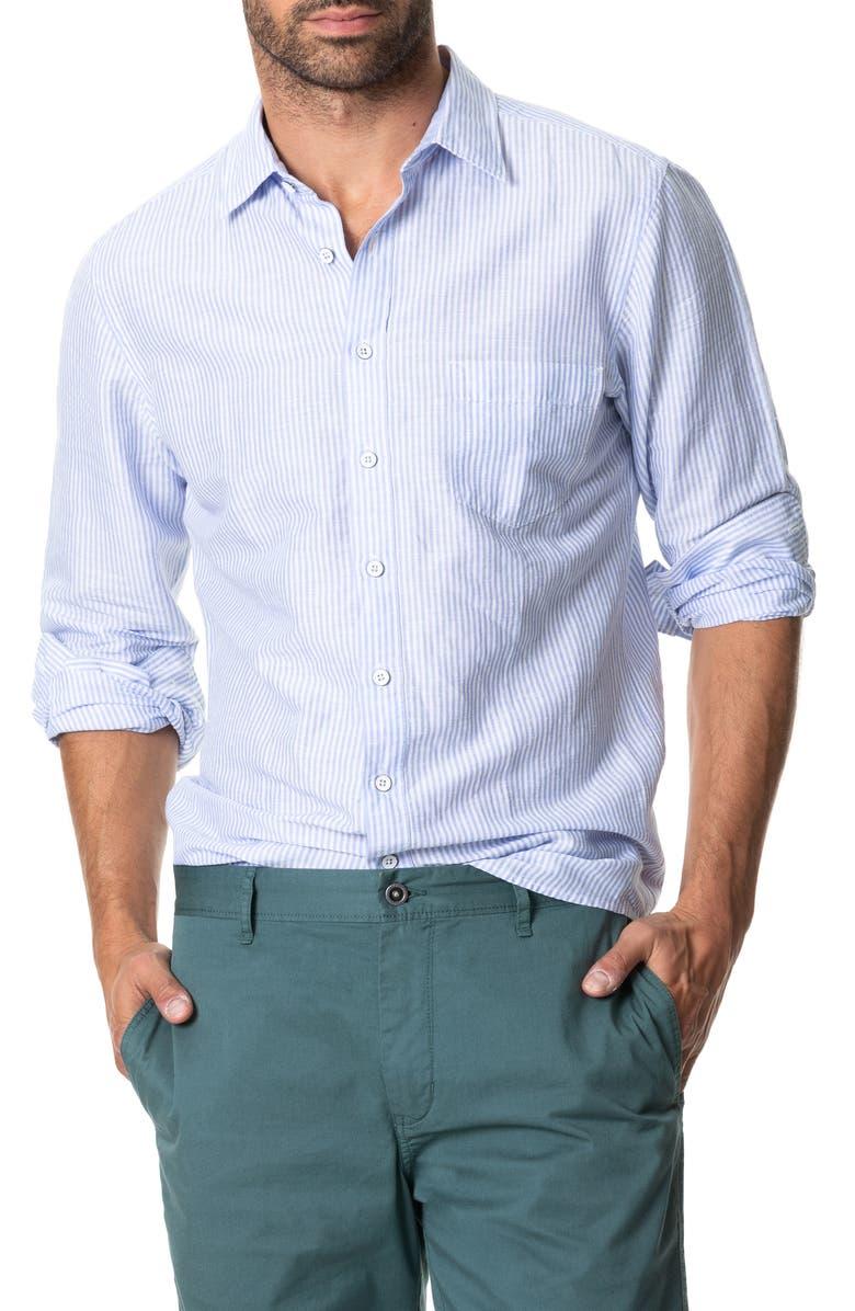 RODD & GUNN Lynwood Stripe Linen & Cotton Button-Up Shirt, Main, color, CORNFLOWER