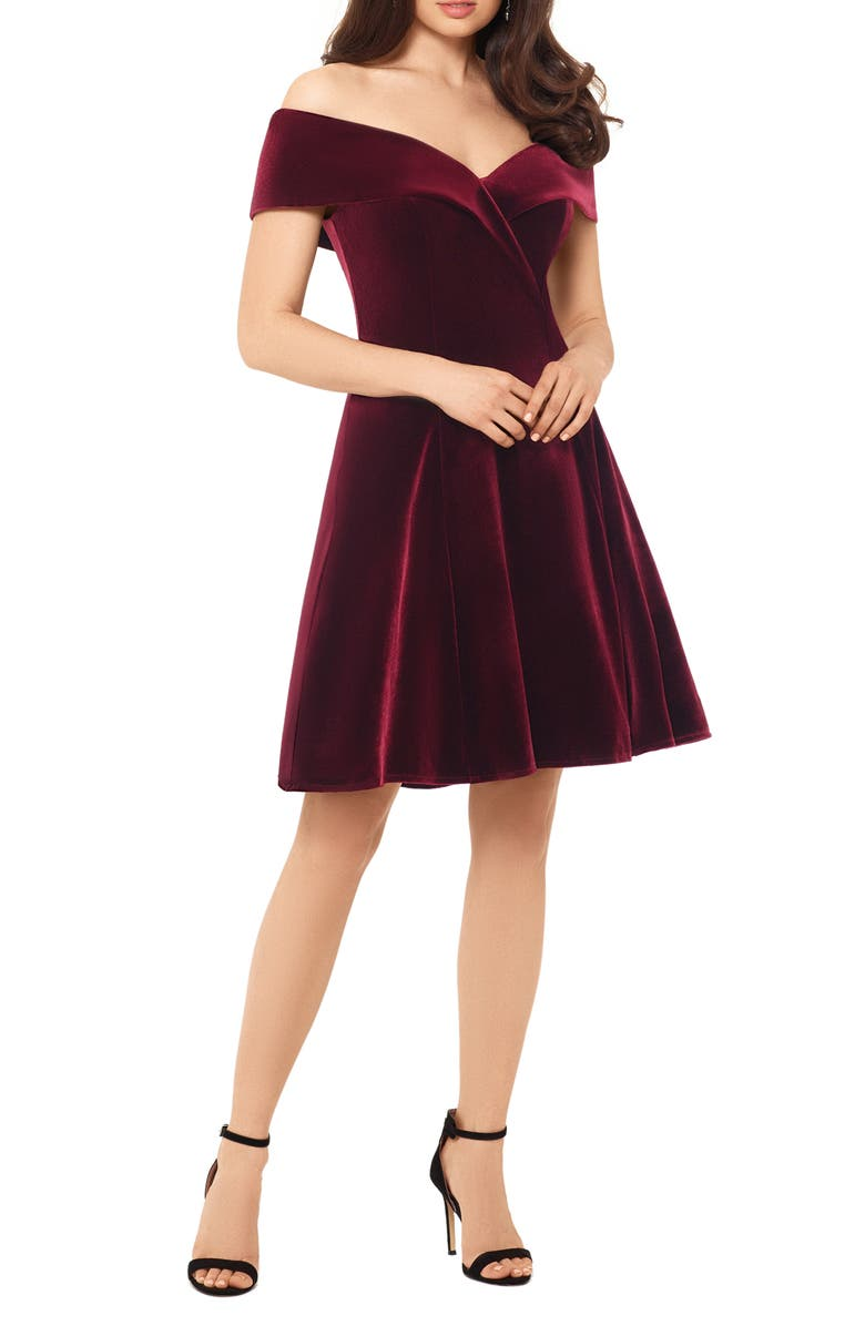 XSCAPE Off the Shoulder Velvet Party Dress, Main, color, BURGUNDY