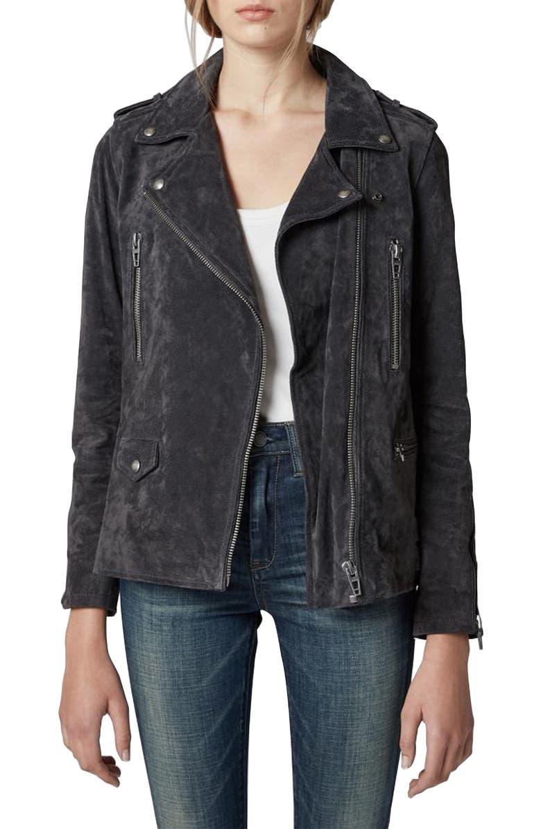 BLANKNYC Suede Moto Jacket, Main, color, 001