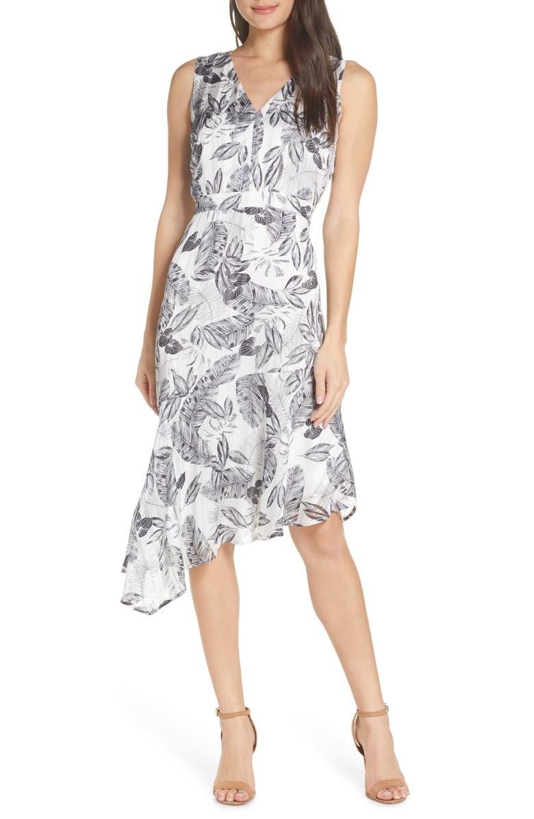 SAM EDELMAN Floral Asymmetrical Dress, Main, color, BLACK/WHITE
