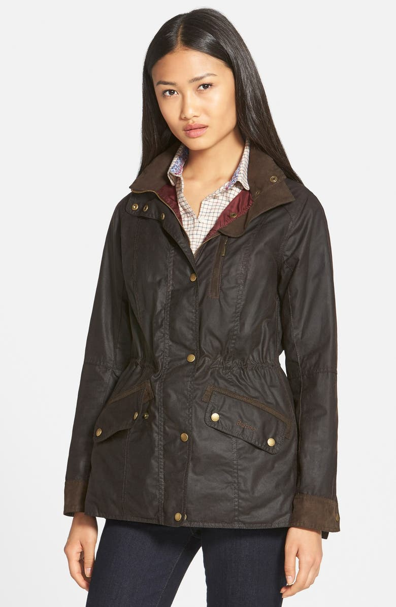 BARBOUR 'Badminton' Waterproof Waxed Cotton Jacket, Main, color, 201