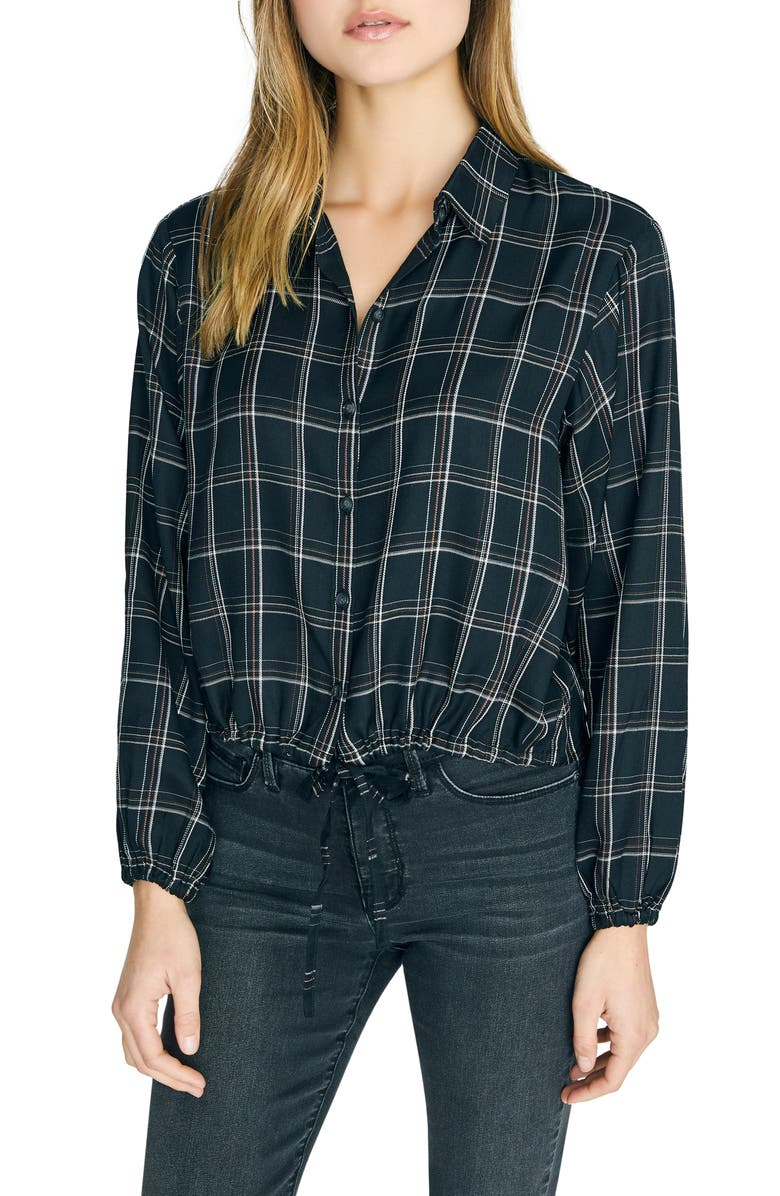 SANCTUARY Just My Type Plaid Tie Front Long Sleeve Shirt, Main, color, INCLUSIVE PLAID