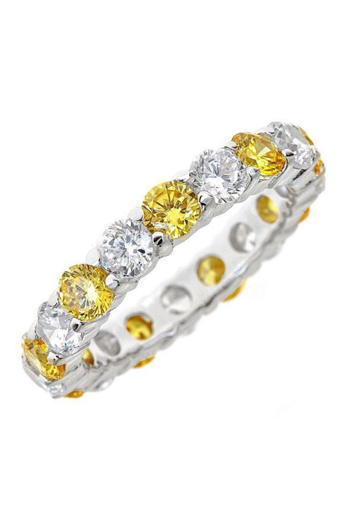 Image of Sterling Forever Sterling Silver Canary CZ Celebration Band Ring