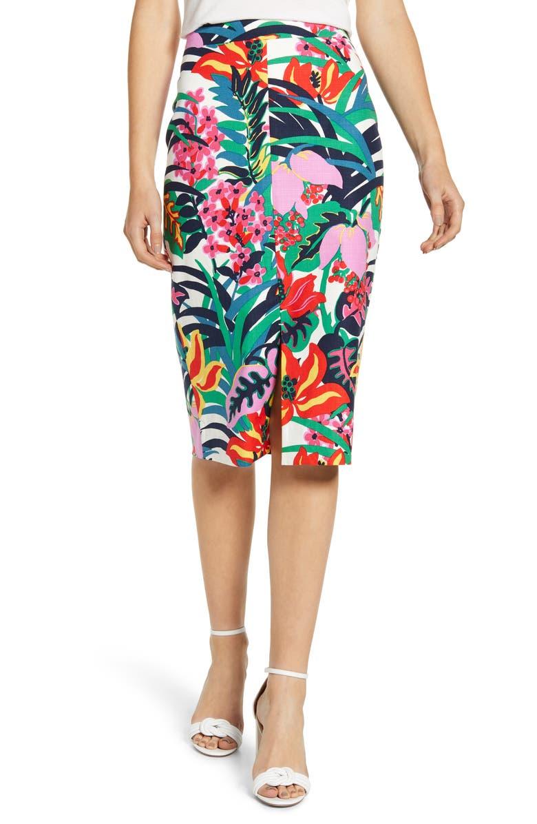 J.CREW Tropical Grasscloth Pencil Skirt, Main, color, 651