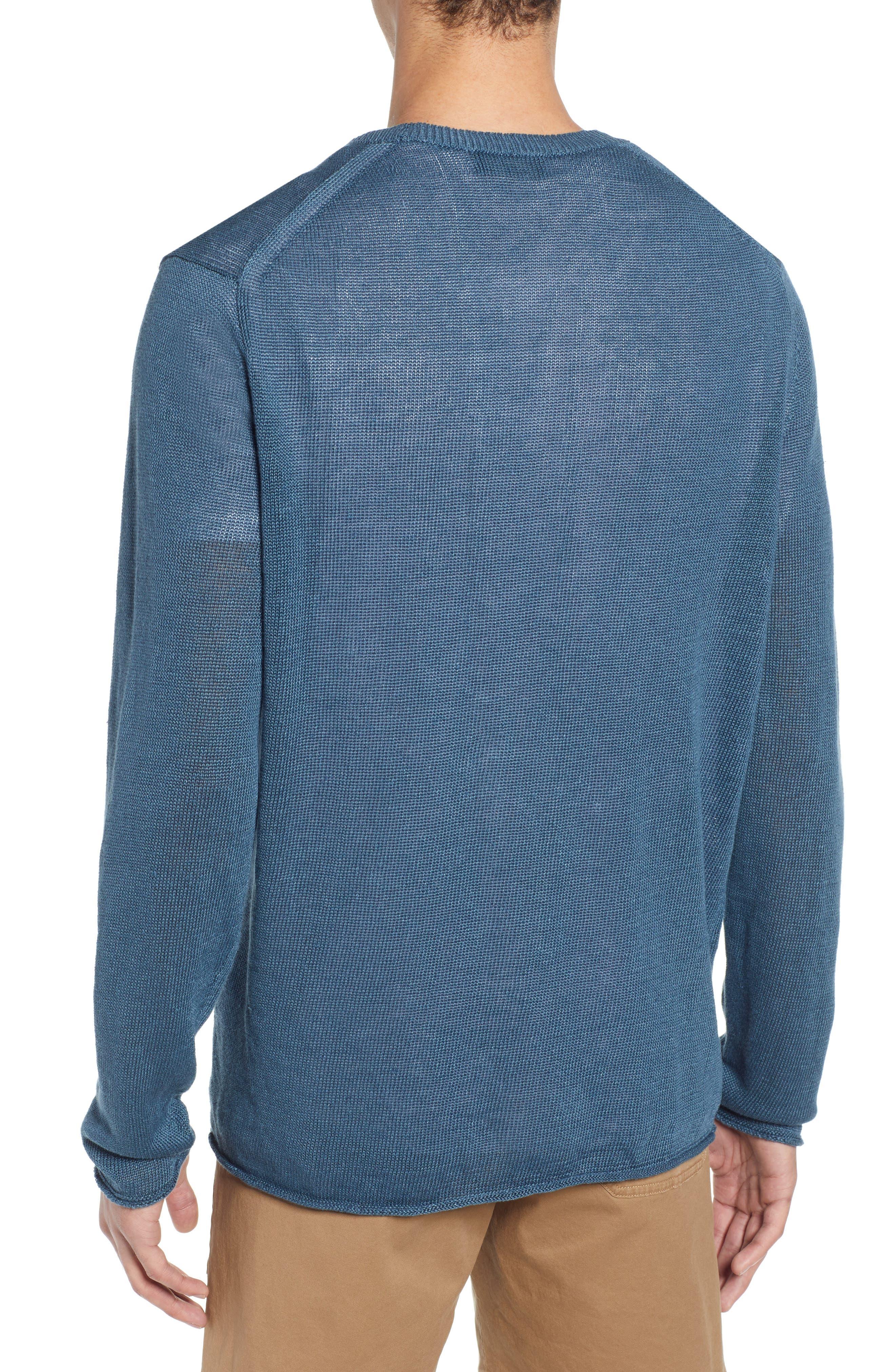 ,                             Crewneck Linen Sweater,                             Alternate thumbnail 2, color,                             MARIN