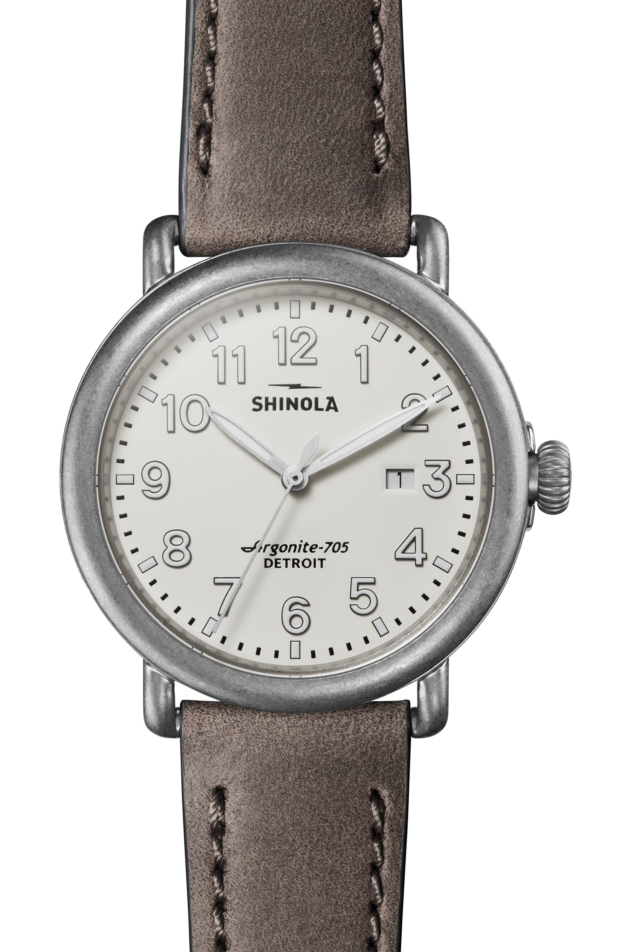 'Runwell' Leather Strap Watch, 41mm, Main, color, HEATHER/ IVORY/ SILVER