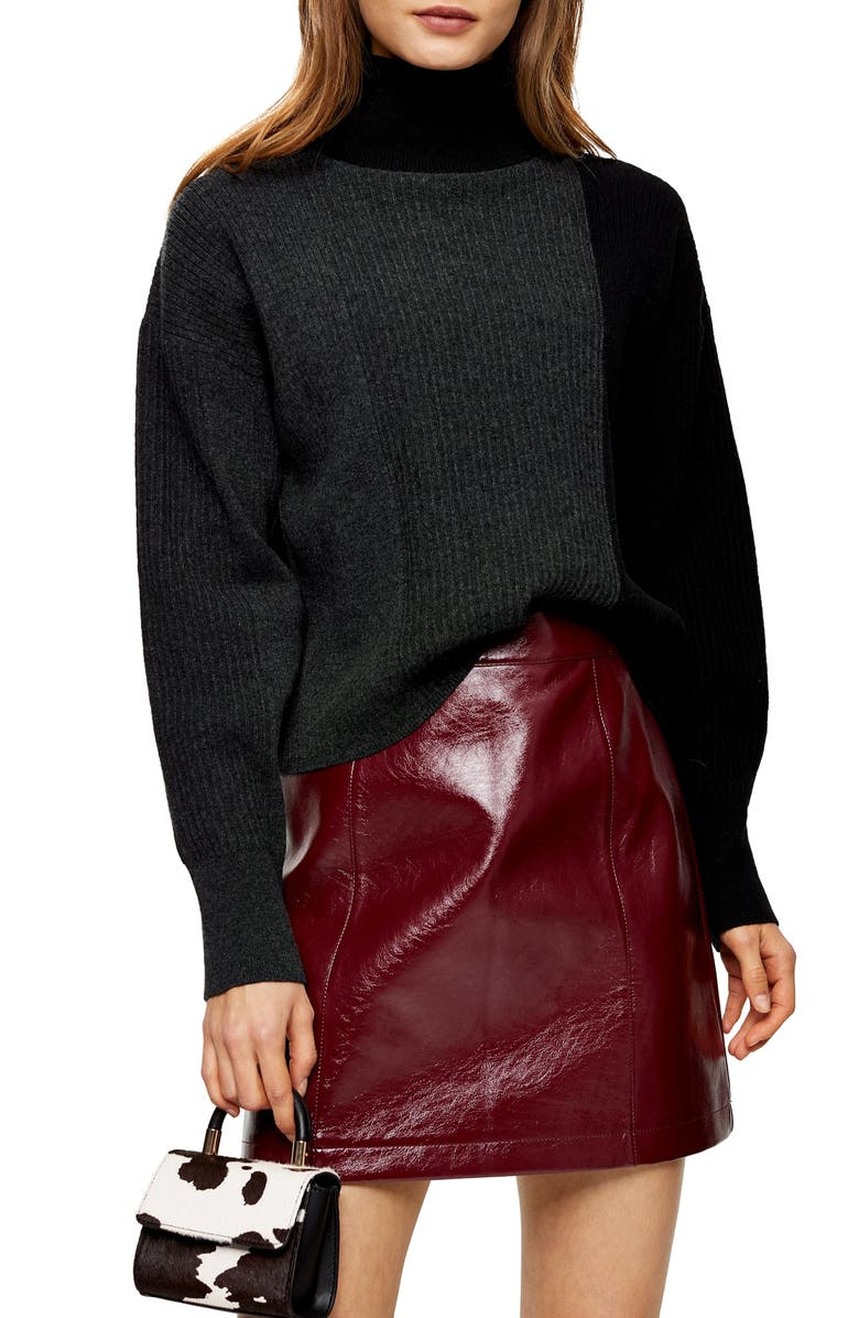 TOPSHOP Turtleneck Sweater, Main, color, CHARCOAL