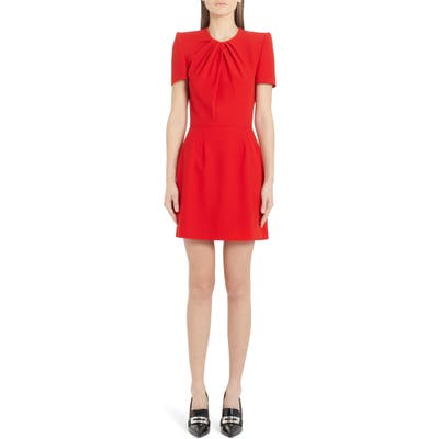 Alexander Mcqueen Pleated Leaf Crepe Minidress, US / 44 IT - Red