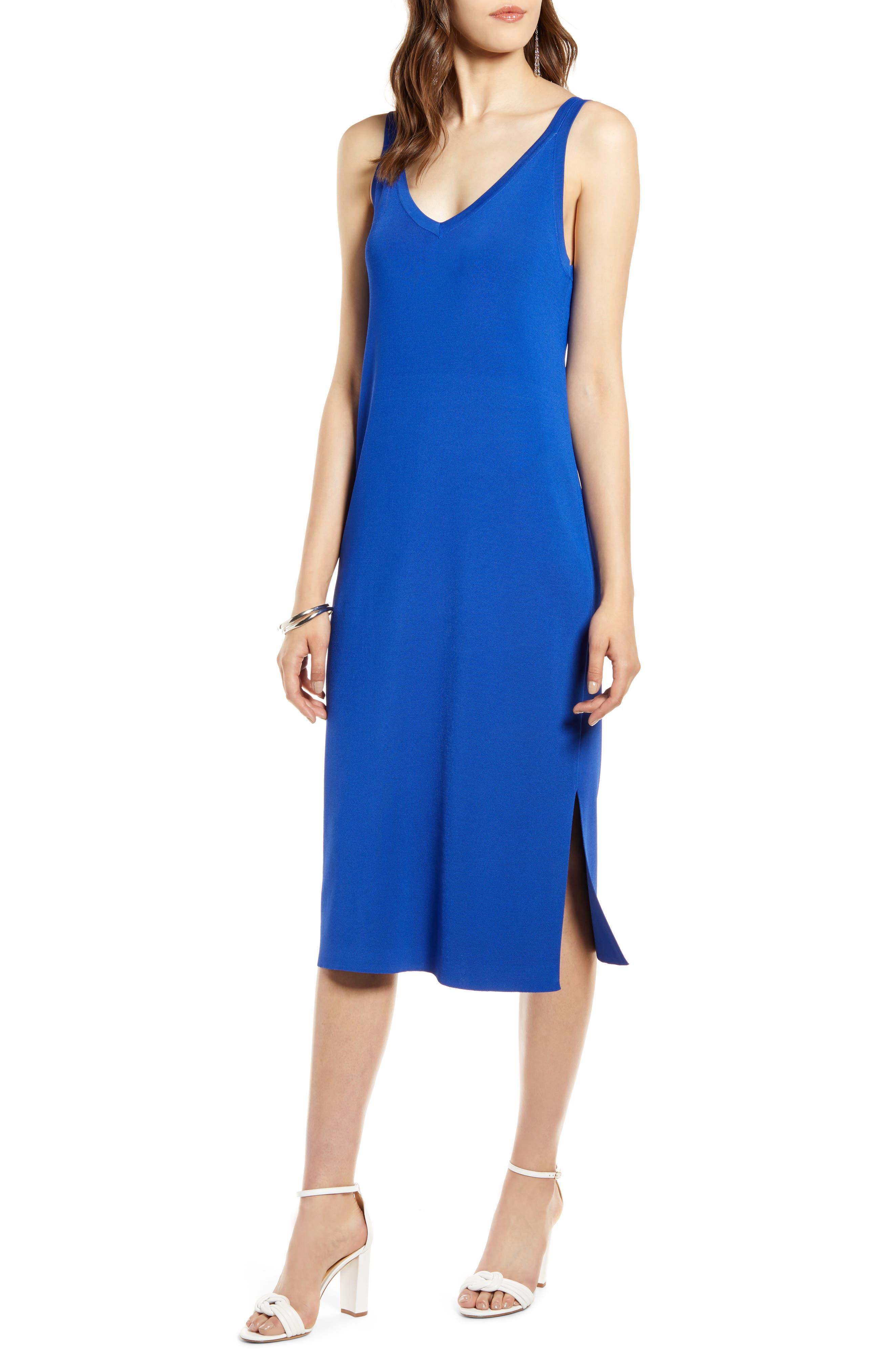Halogen Ribbed Tank Dress, Blue