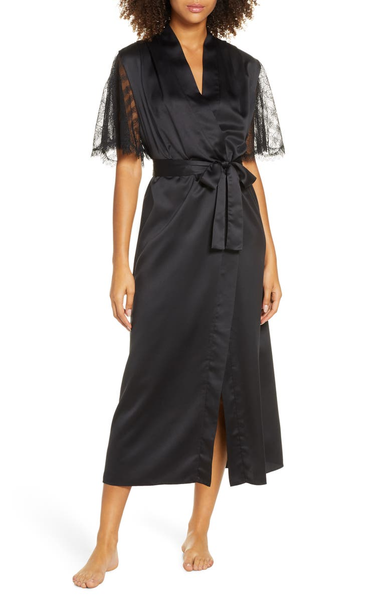 RYA COLLECTION Graceful Charmeuse Robe, Main, color, BLACK