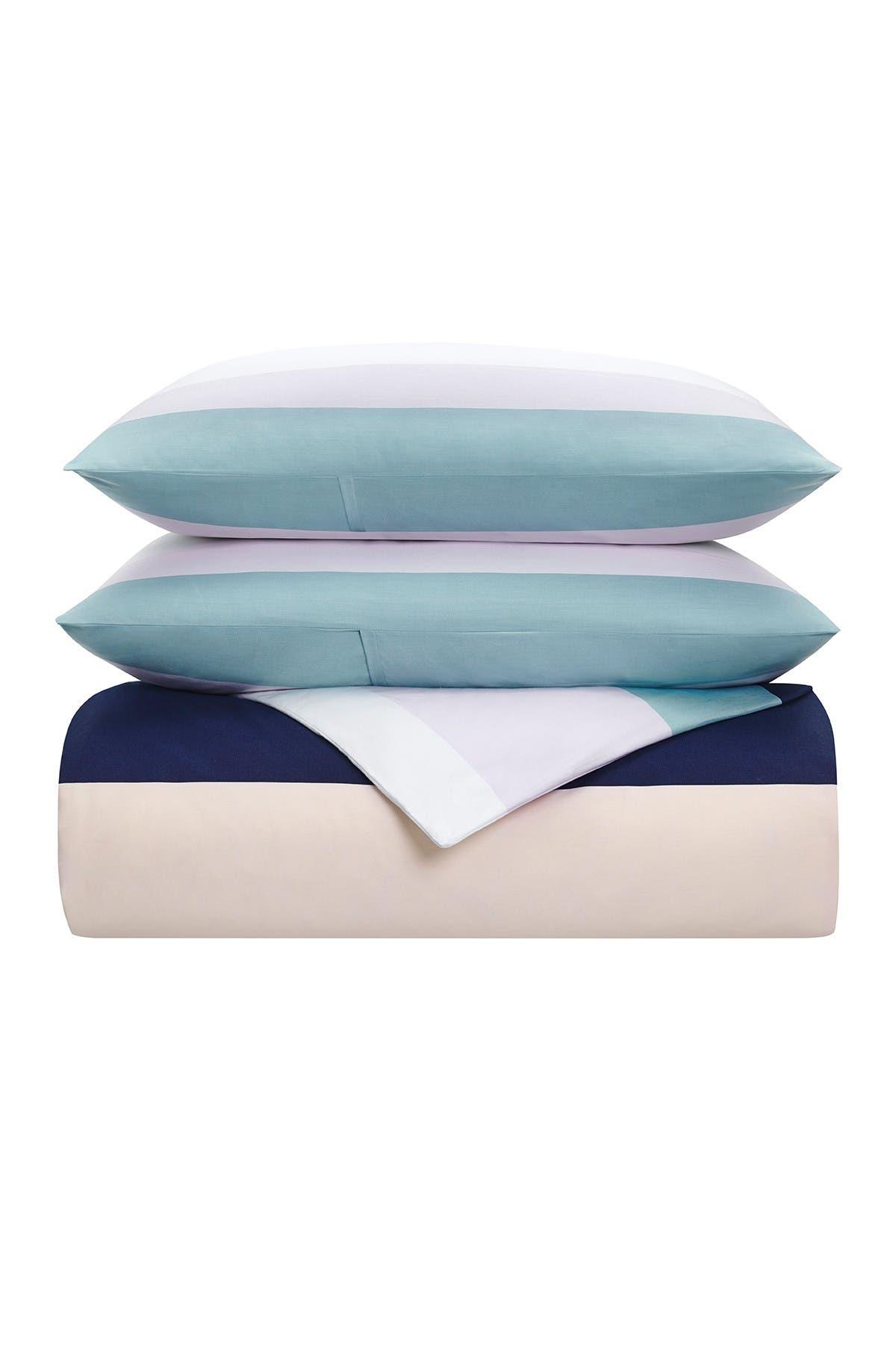 Image of kate spade new york dusk stripe comforter 3-piece set - king - squid ink