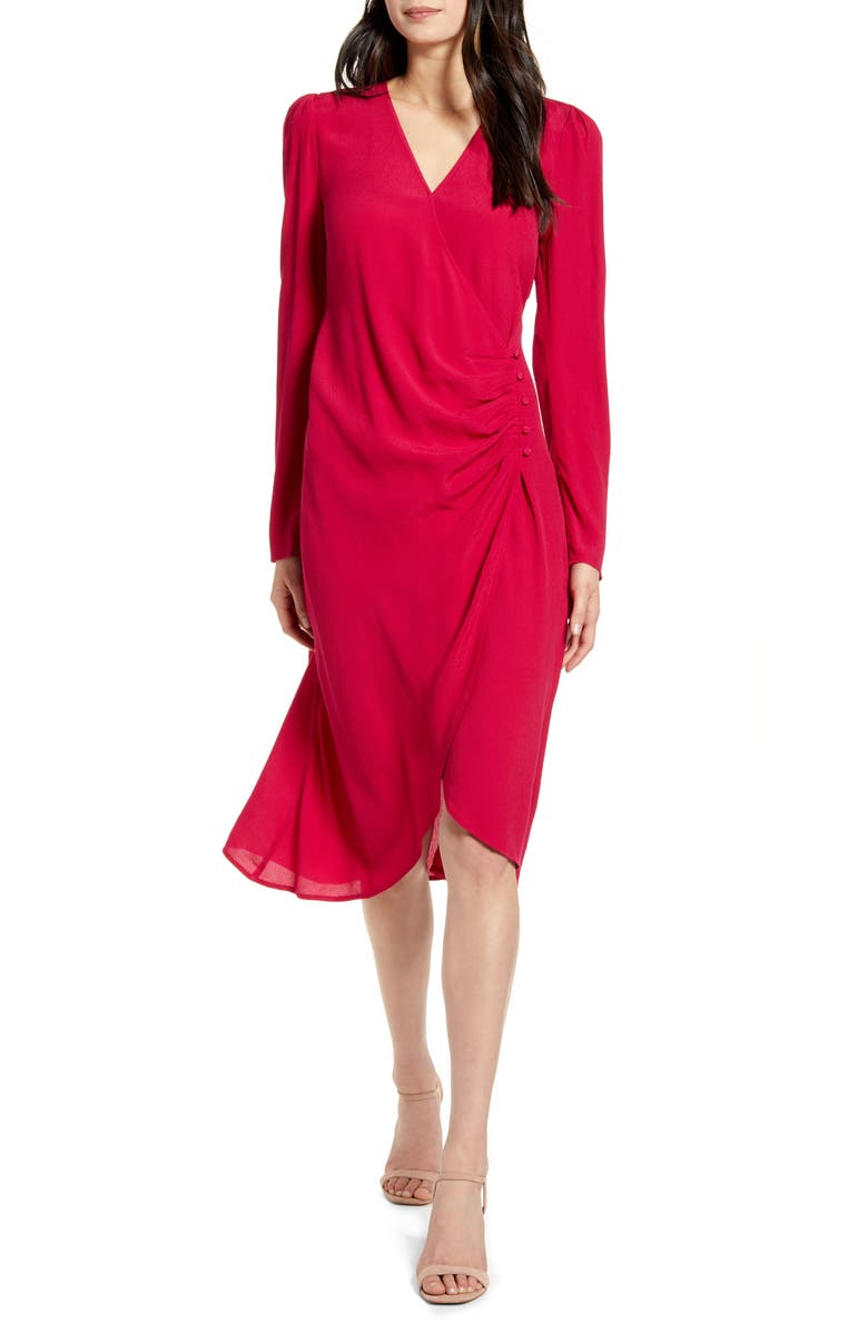 CHELSEA28 Long Sleeve Wrap Dress, Main, color, RED CERISE