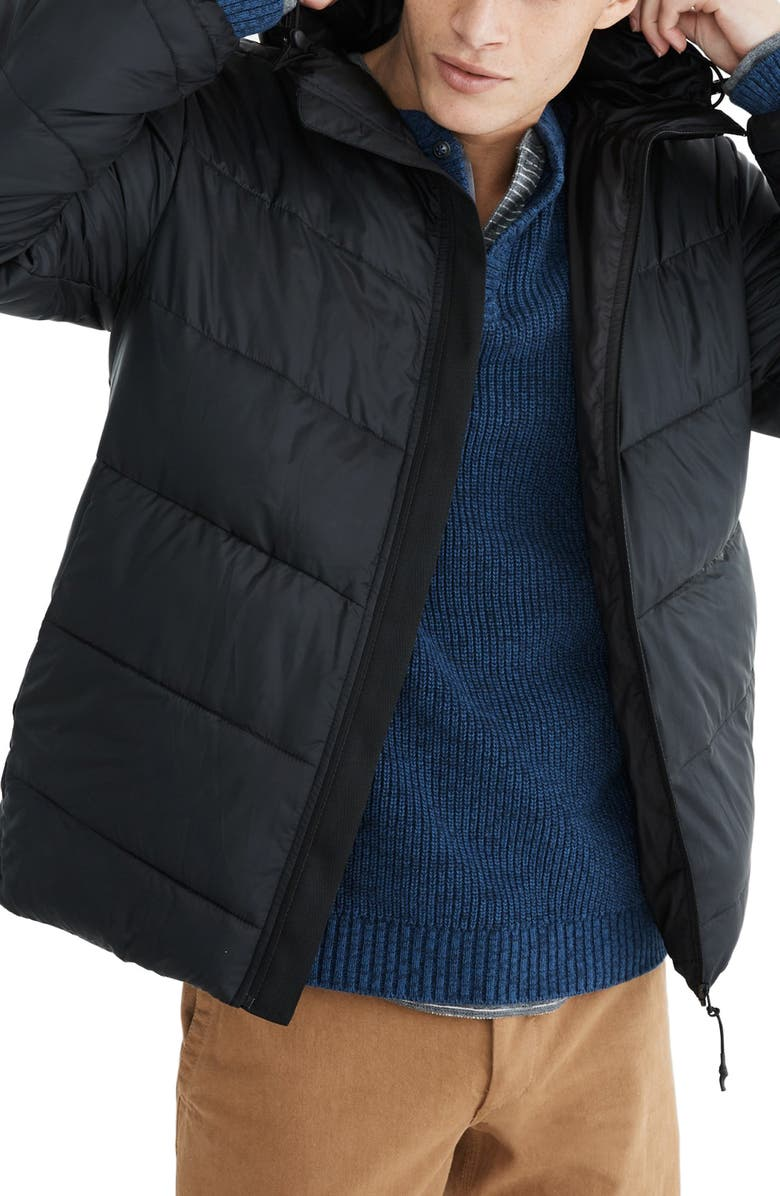 MADEWELL Packable Puffer Jacket, Main, color, TRUE BLACK