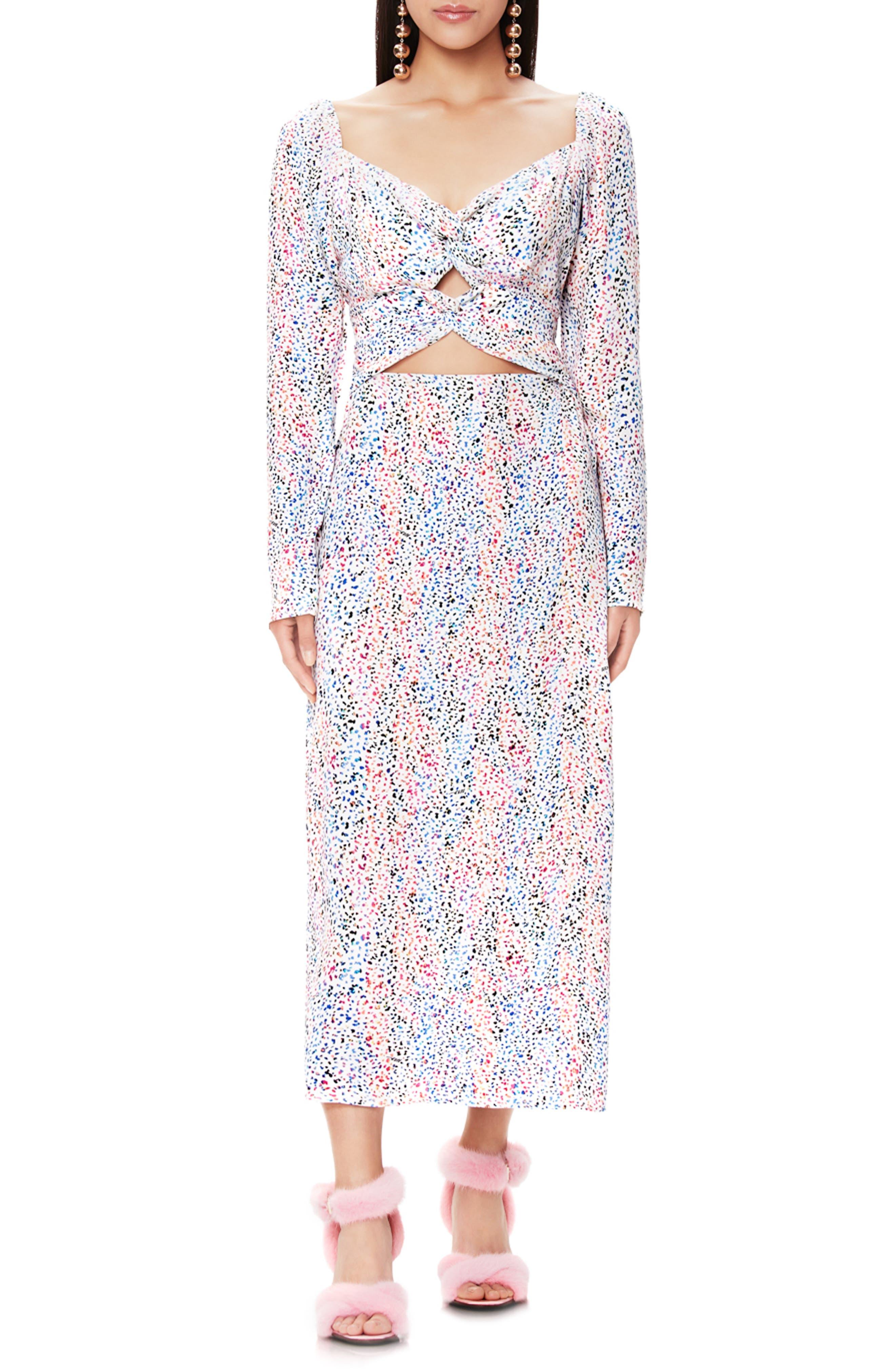 Afrm Jonael Spatter Print Long Sleeve Dress, White