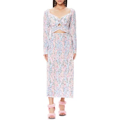 Afrm Jonael Spatter Print Long Sleeve Dress, White