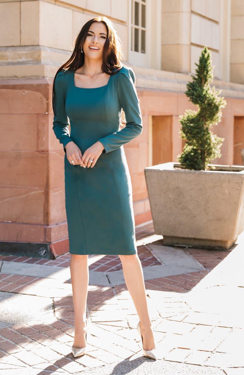 RACHEL PARCELL Square Neck Long Sleeve Ponte Dress, Main, color, TEAL CYRUS