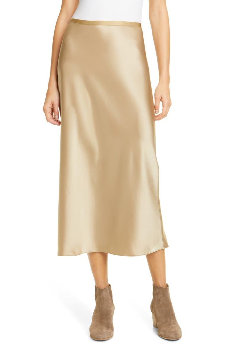 POLO RALPH LAUREN Amla Bias Cut Satin Midi Skirt, Main, color, MONTANA KHAKI