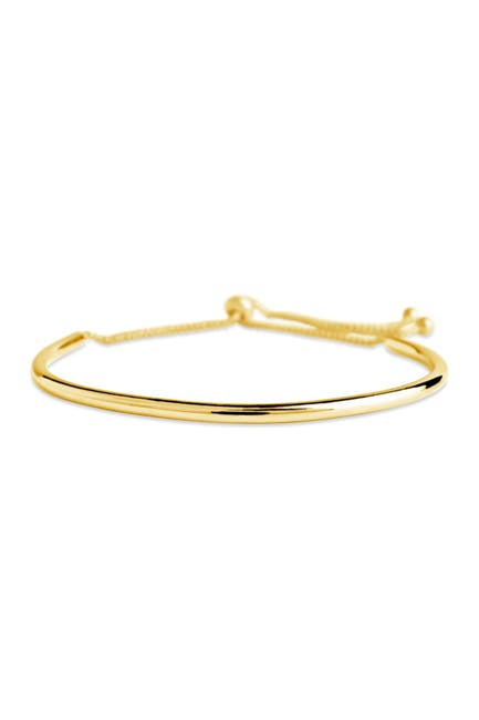 Image of Sterling Forever 14K Yellow Gold Plated Polished Curved Bar Bolo Bracelet