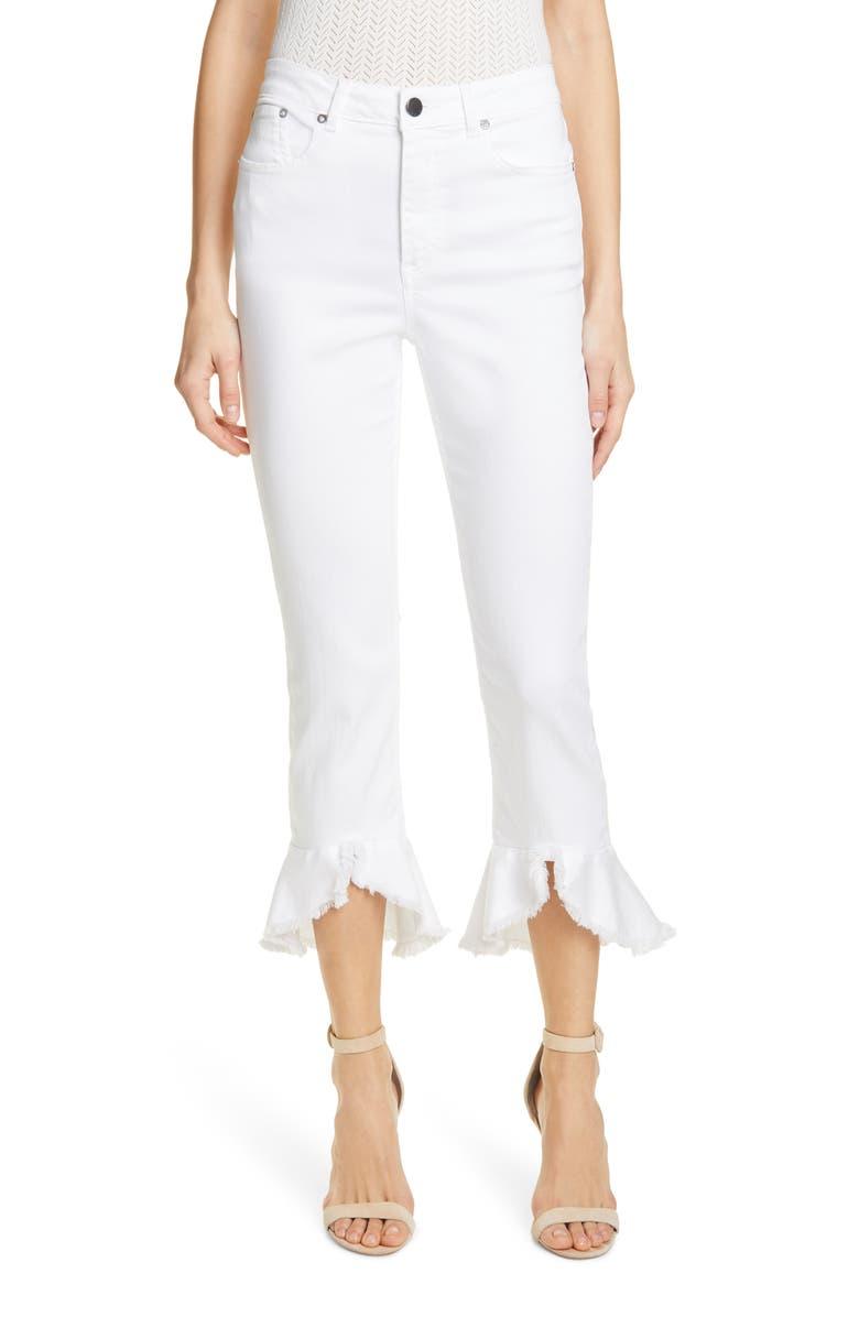 ALICE + OLIVIA JEANS Zoe Split Hem Ruffle Jeans, Main, color, 100