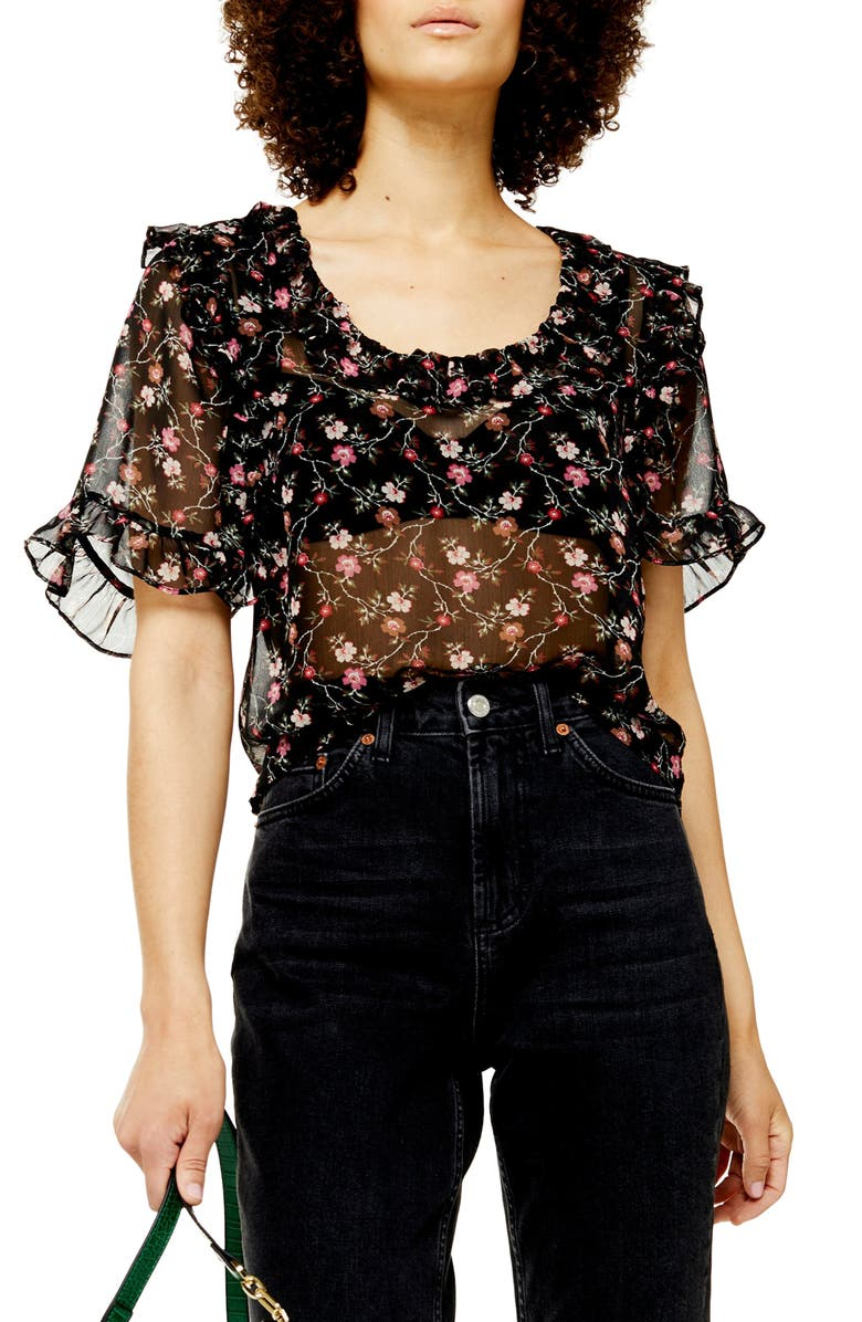 TOPSHOP Faded Fields Ruffle Sheer Blouse, Main, color, BLACK MULTI