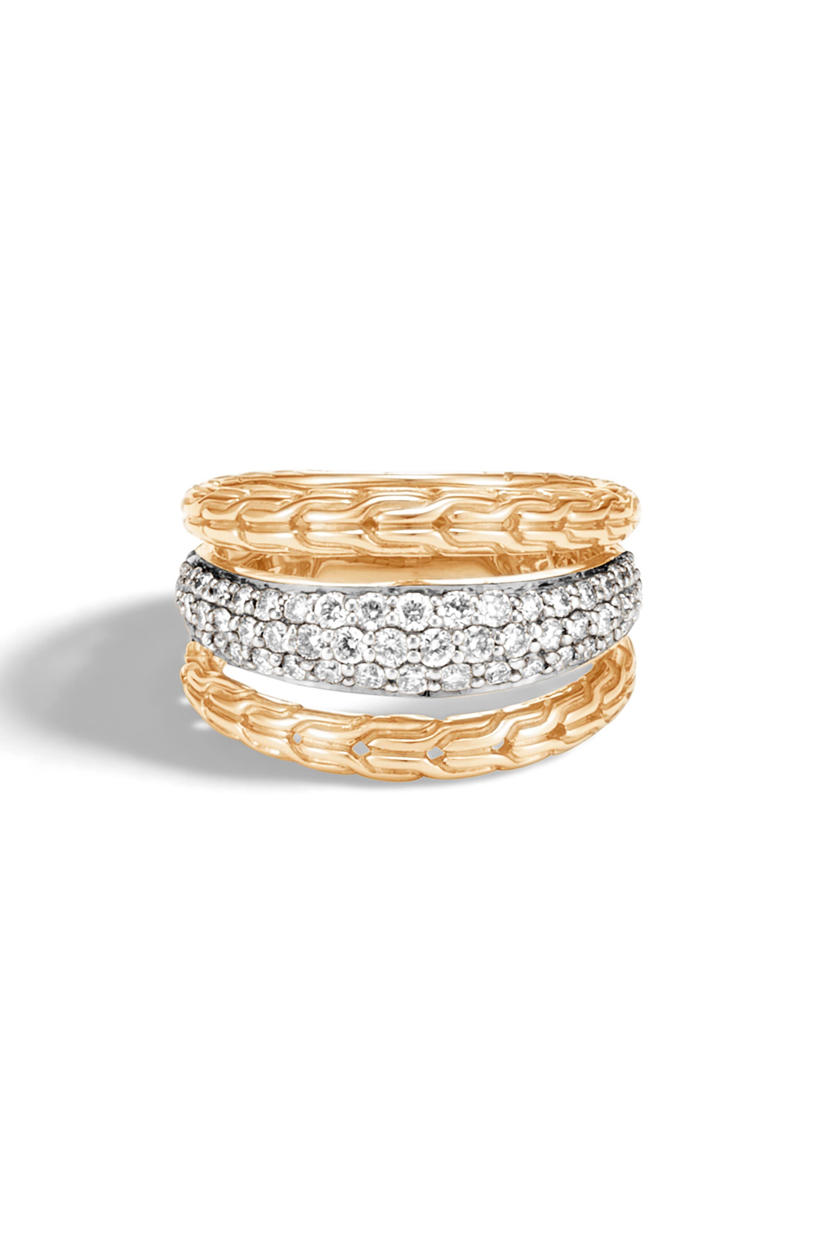 Classic Chain 18K Gold & Pavé Diamond Ring, Main, color, GOLD