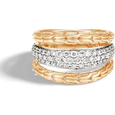 John Hardy Classic Chain 18K Gold & Pave Diamond Ring