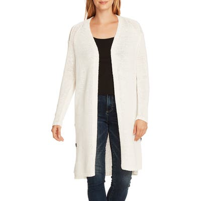 Vince Camuto Side Button Long Cotton Blend Cardigan, Ivory