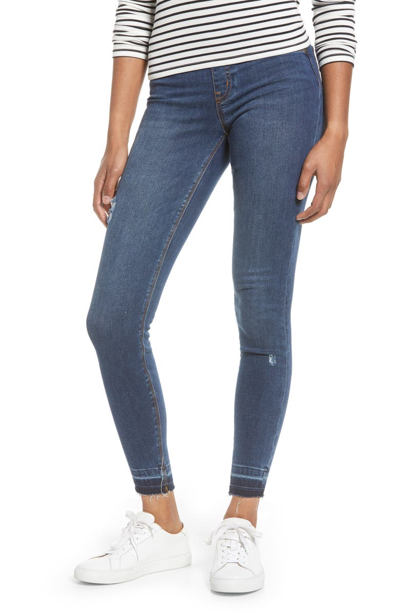 SPANX<SUP>®</SUP> Distressed Skinny Jeans, Main, color, MEDIUM WASH